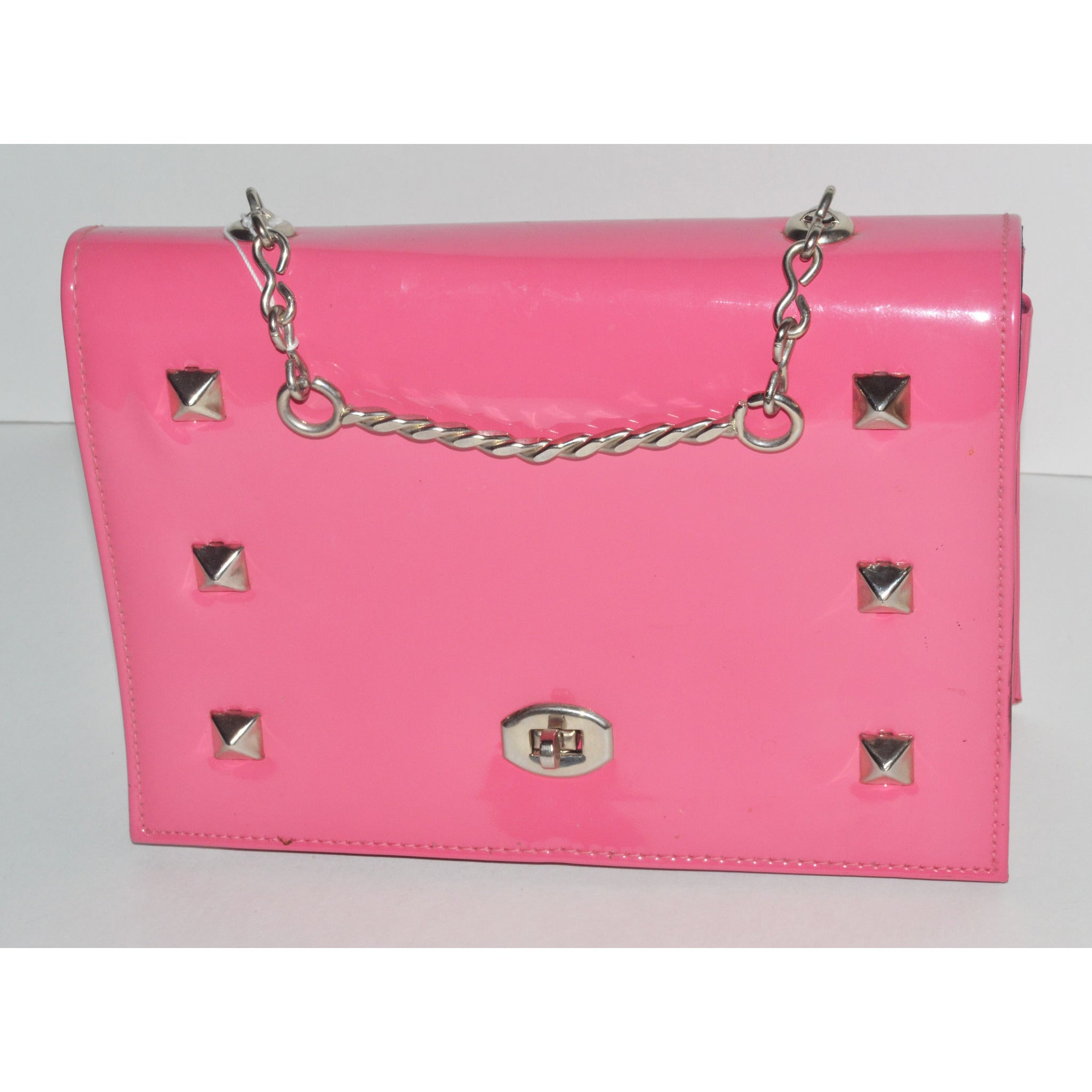 Vintage Pink Studded High Gloss Vinyl Purse