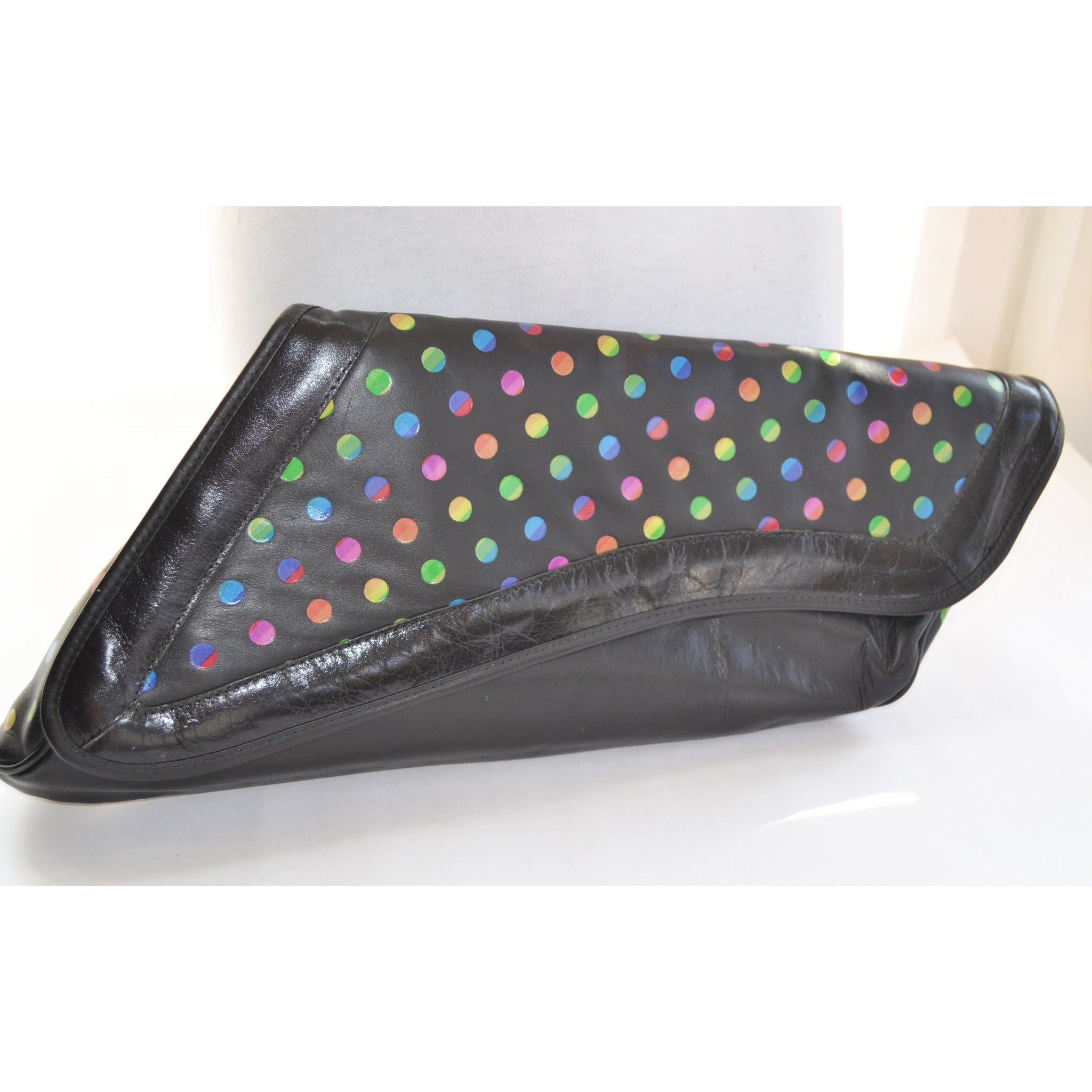 Vintage Black Polka Dot Asymmetrical Leather Clutch Purse
