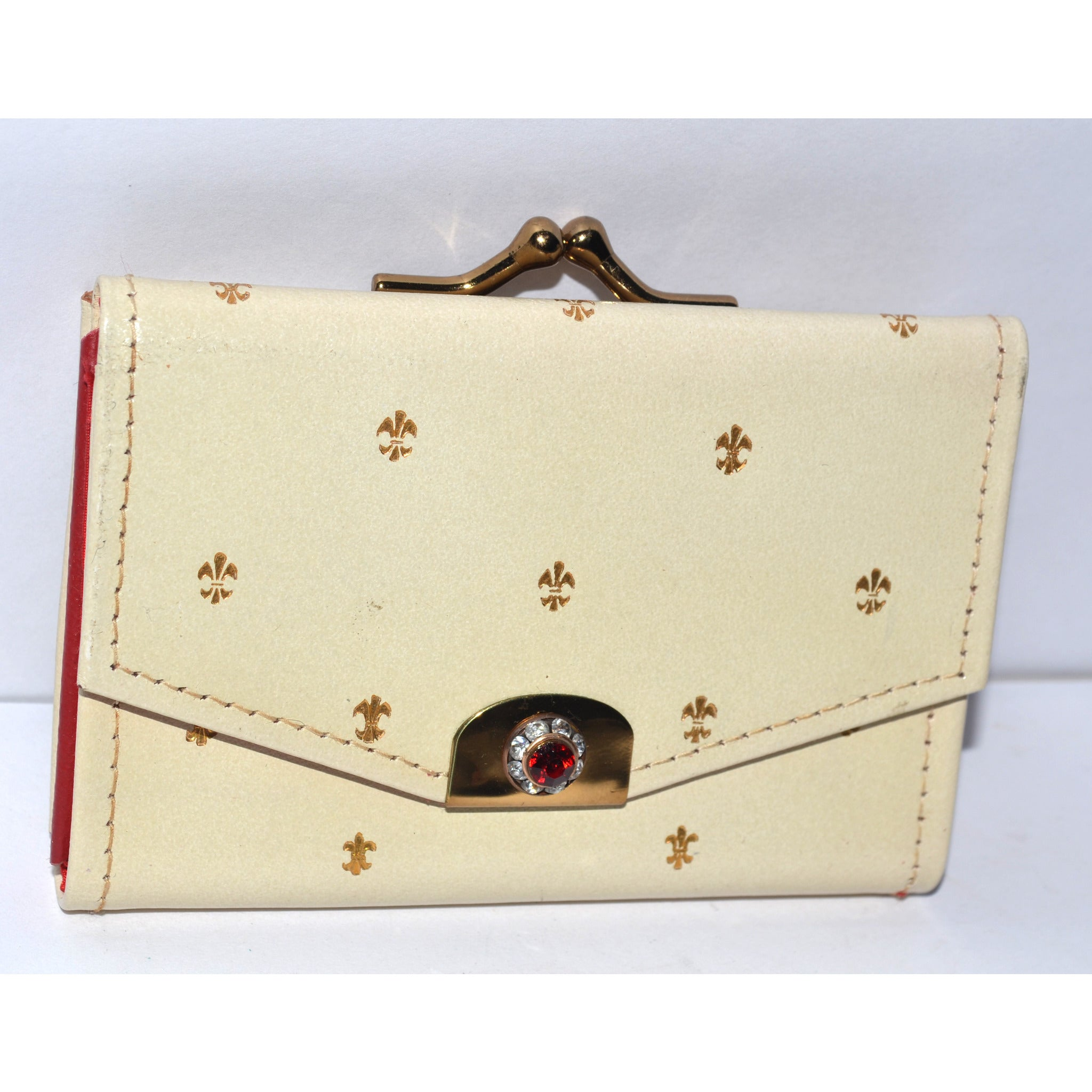 Vintage Cream Jeweled Coin Purse By St. Thomas