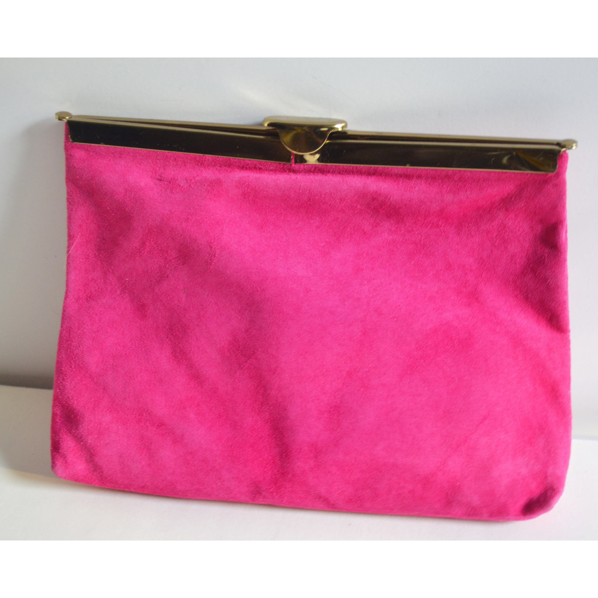 Vintage Raspberry Pink Suede Clutch Purse