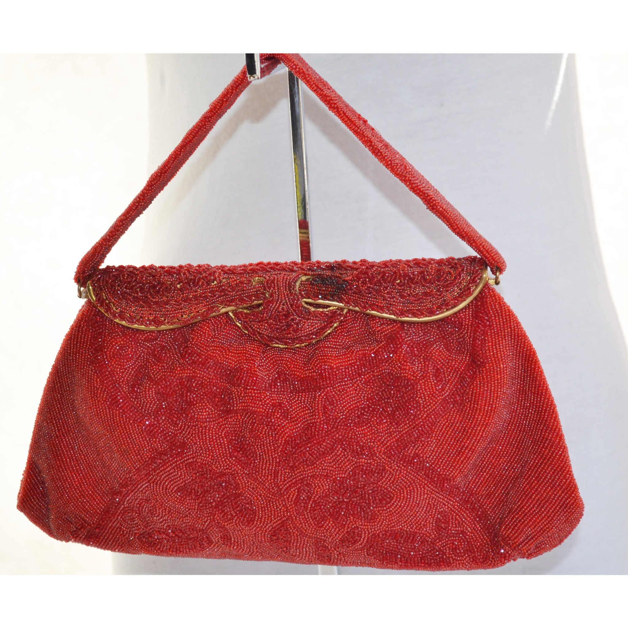 Vintage Red Beaded Purse By Stanley Korshak
