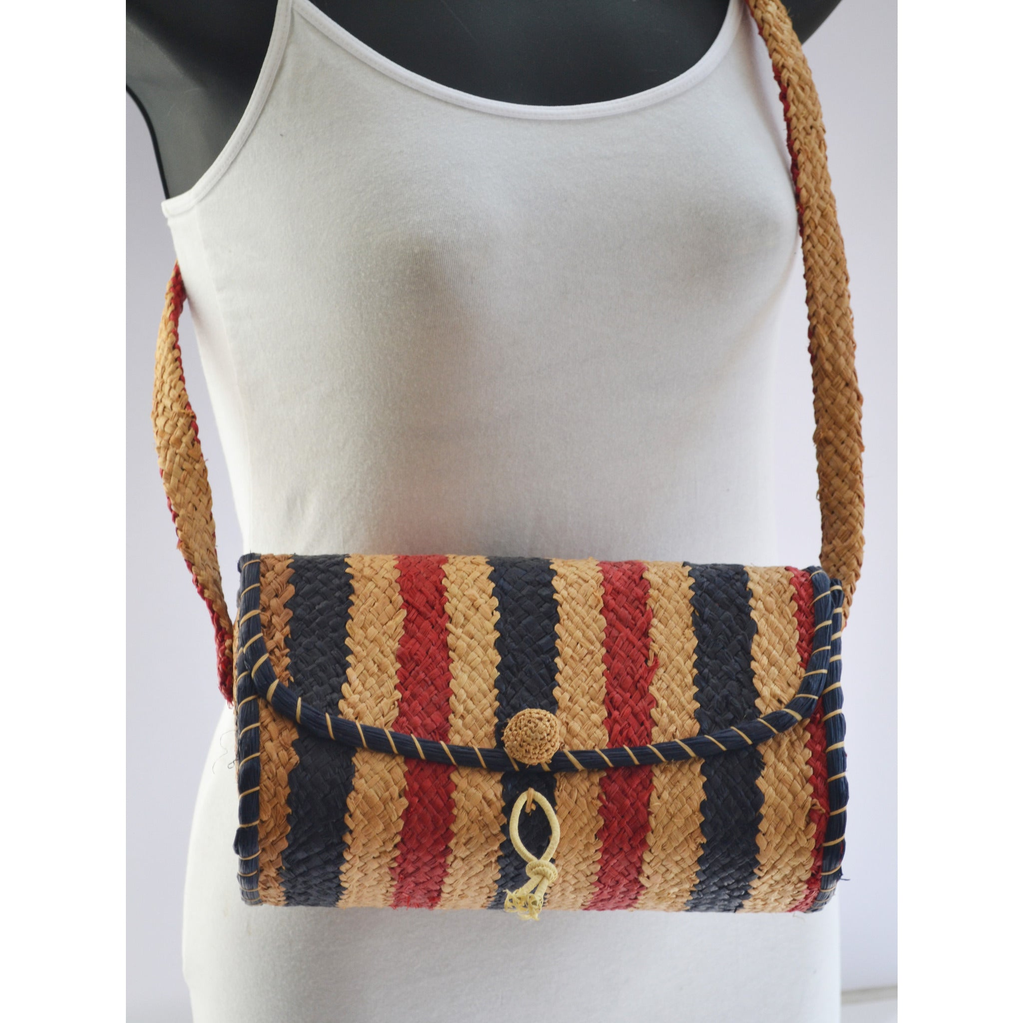 Vintage Italian Red & Blue Natural Straw Shoulder Purse