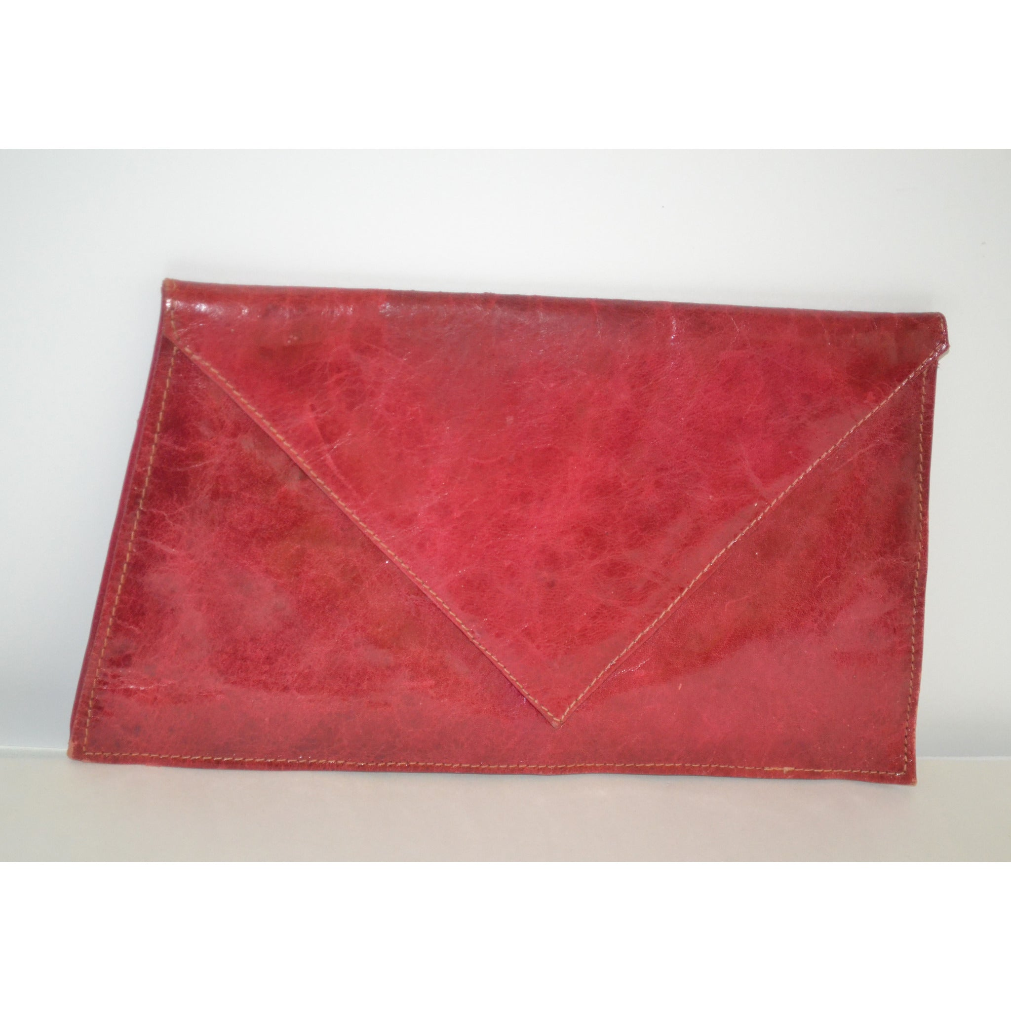 Vintage Red Leather Envelope Clutch Purse