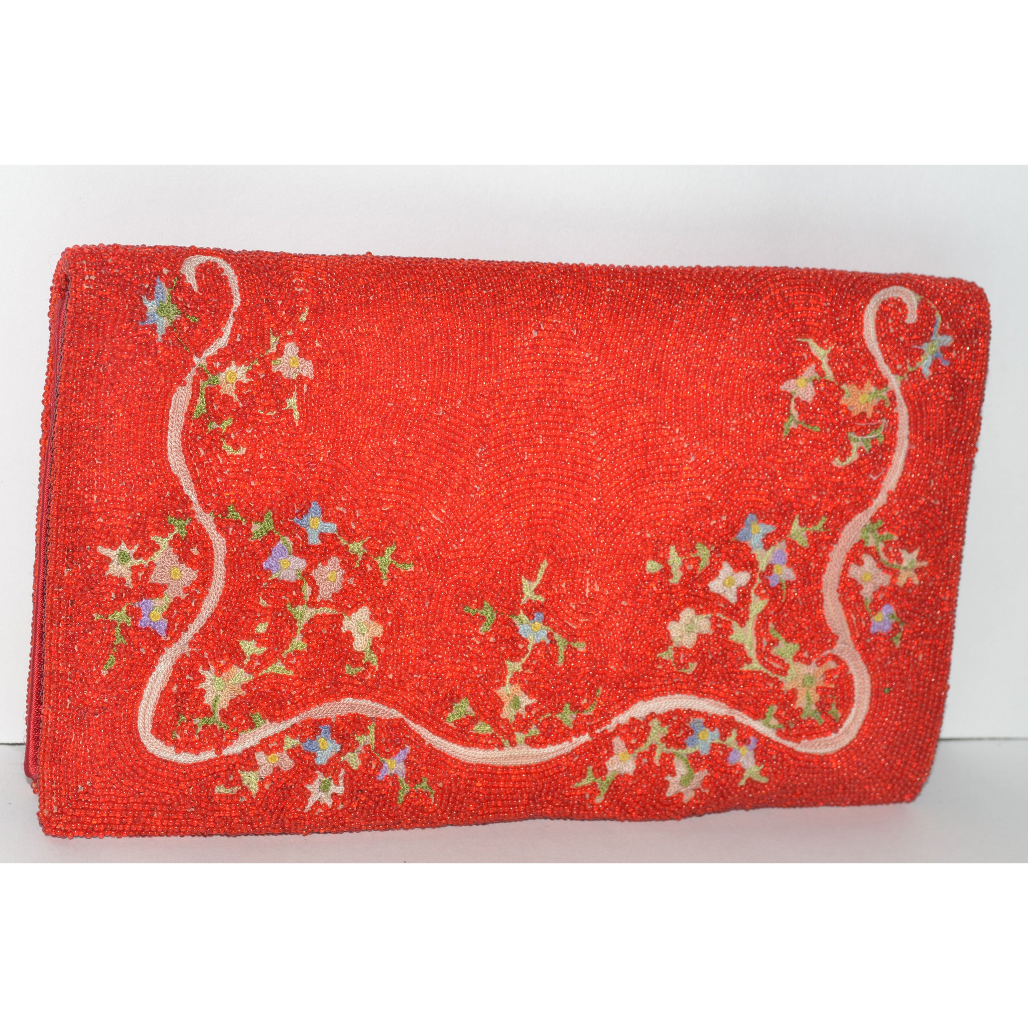 Vintage Red Beaded Embroidered Clutch Purse