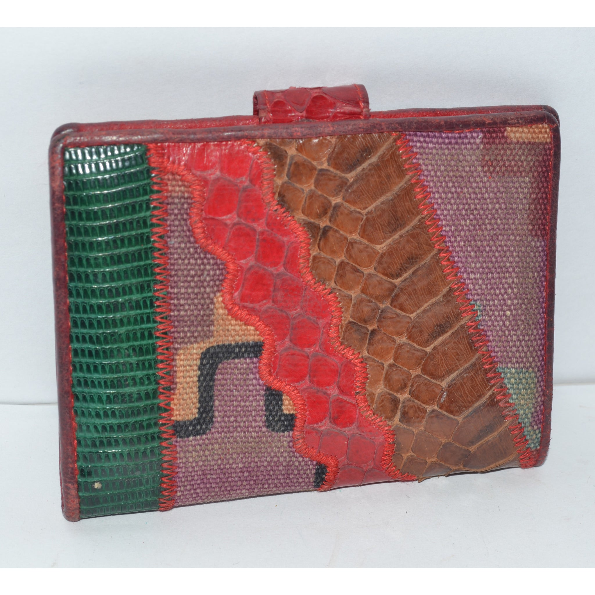 Vintage Snakeskin Patch Wallet By Sharif