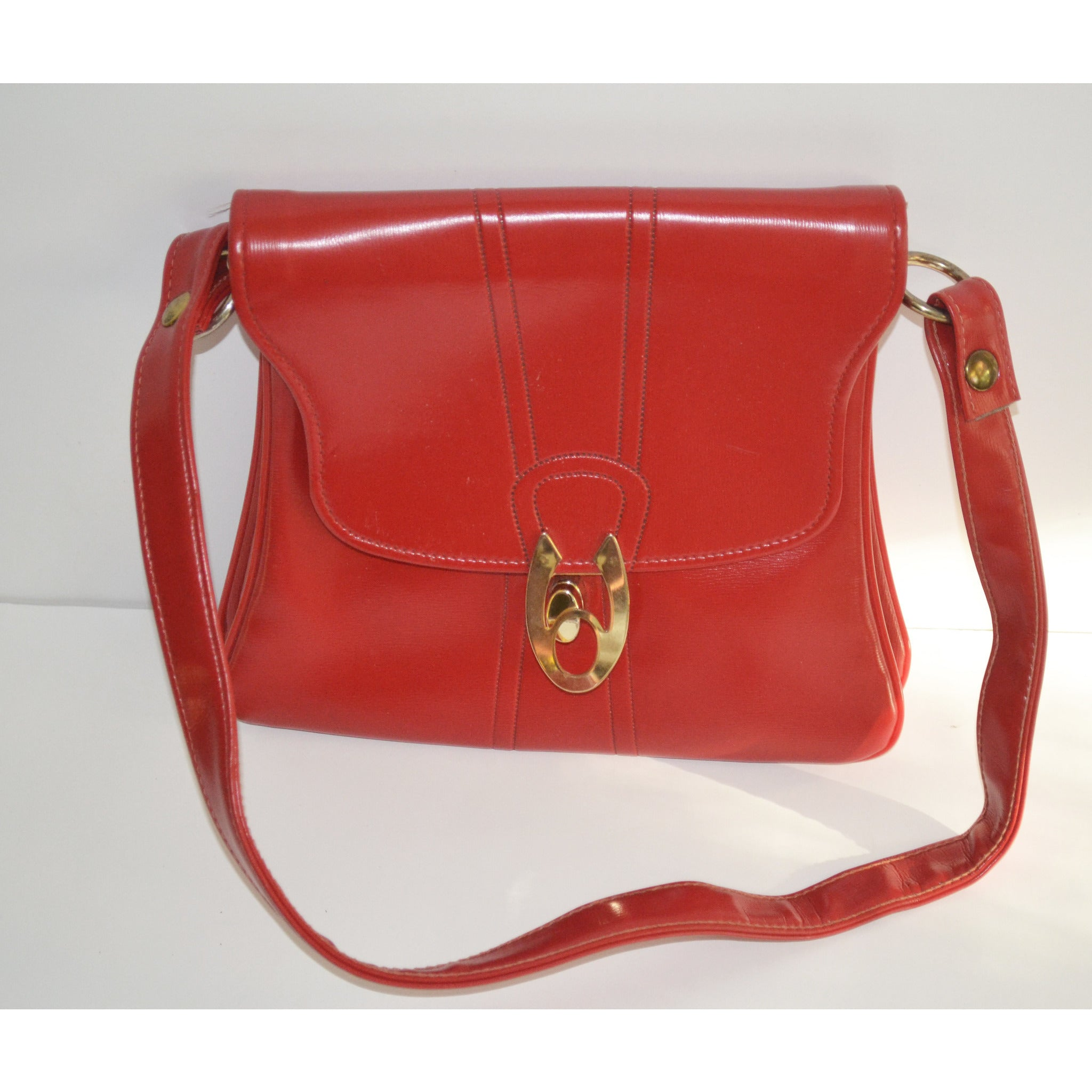 Vintage Red Vinyl Pouch Shoulder Purse