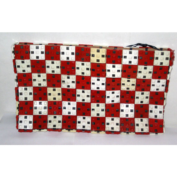 Vintage Plastic Red & White Clutch Purse - 1940'