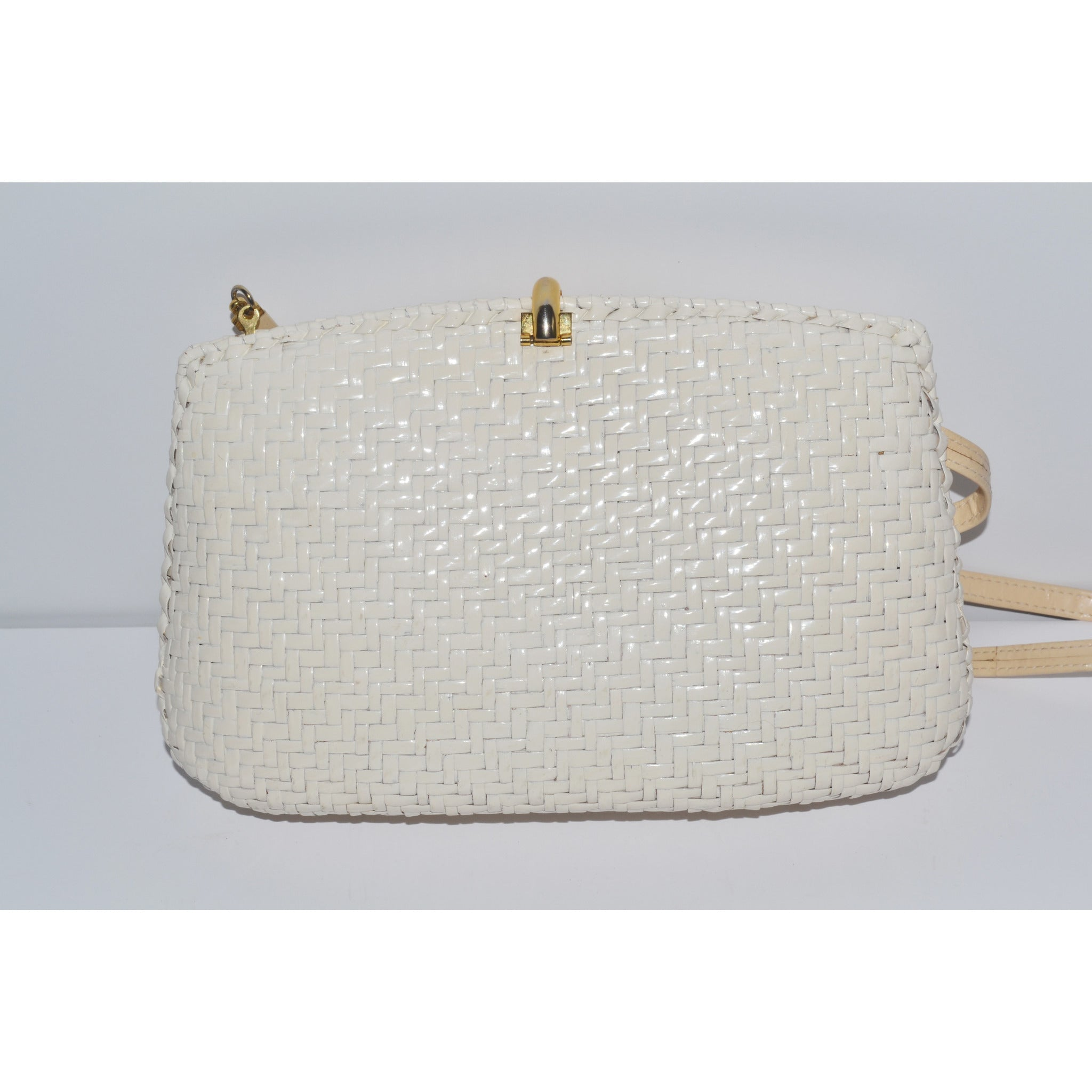 Vintage Glazed White Wicker Purse By Rodo