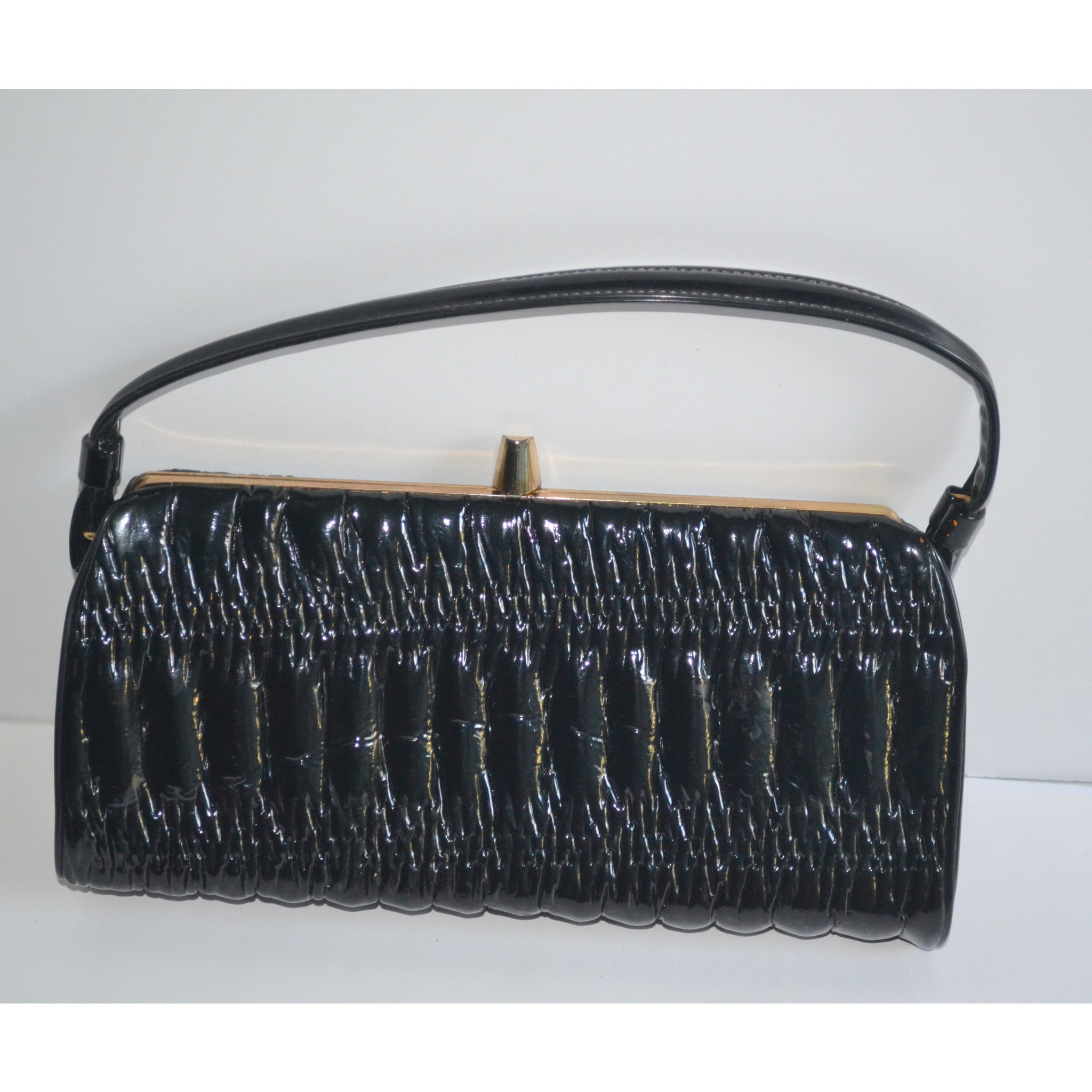 Vintage High Gloss Black Vinyl Purse