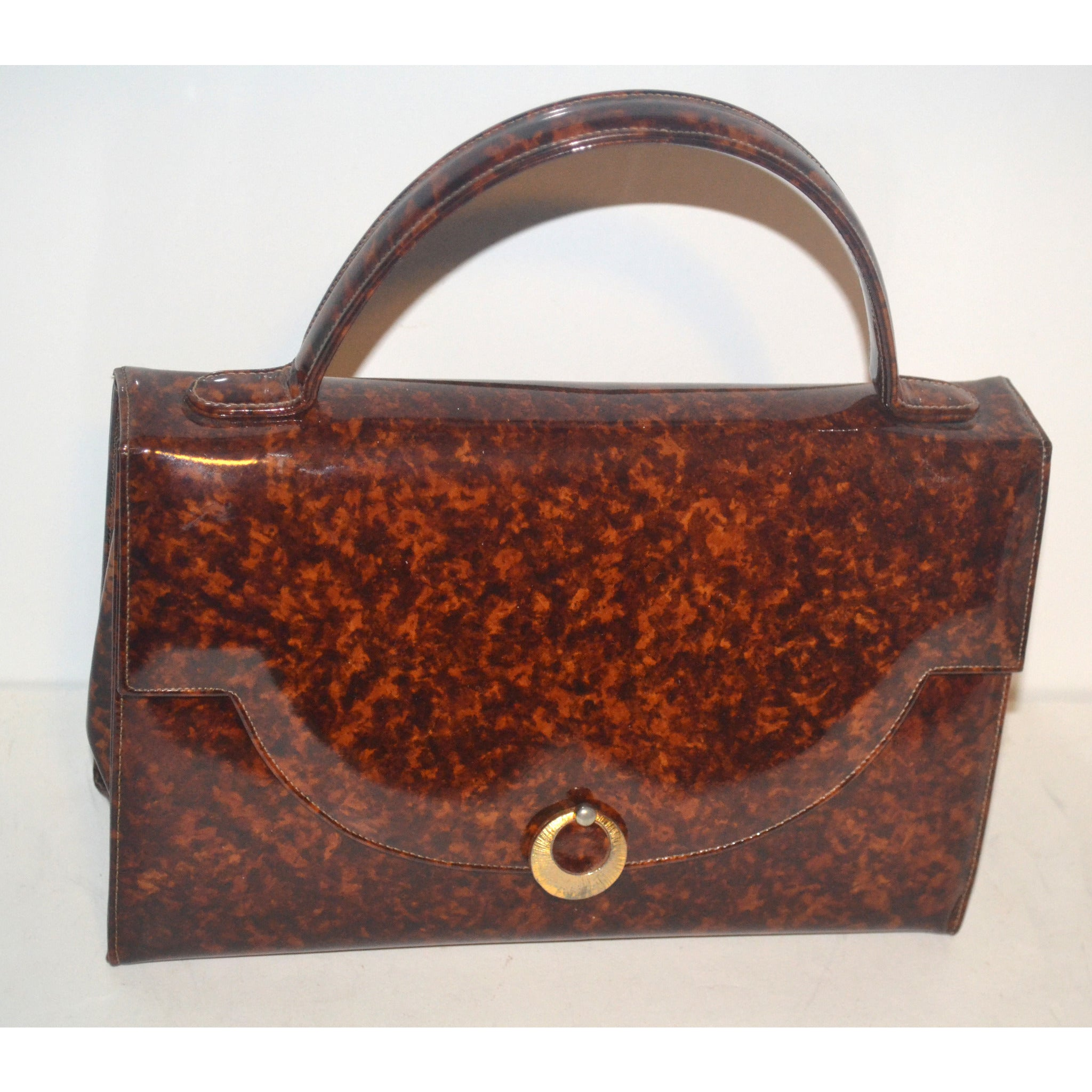 Vintage Brown High Gloss Purse By Saks Fifth Avenue