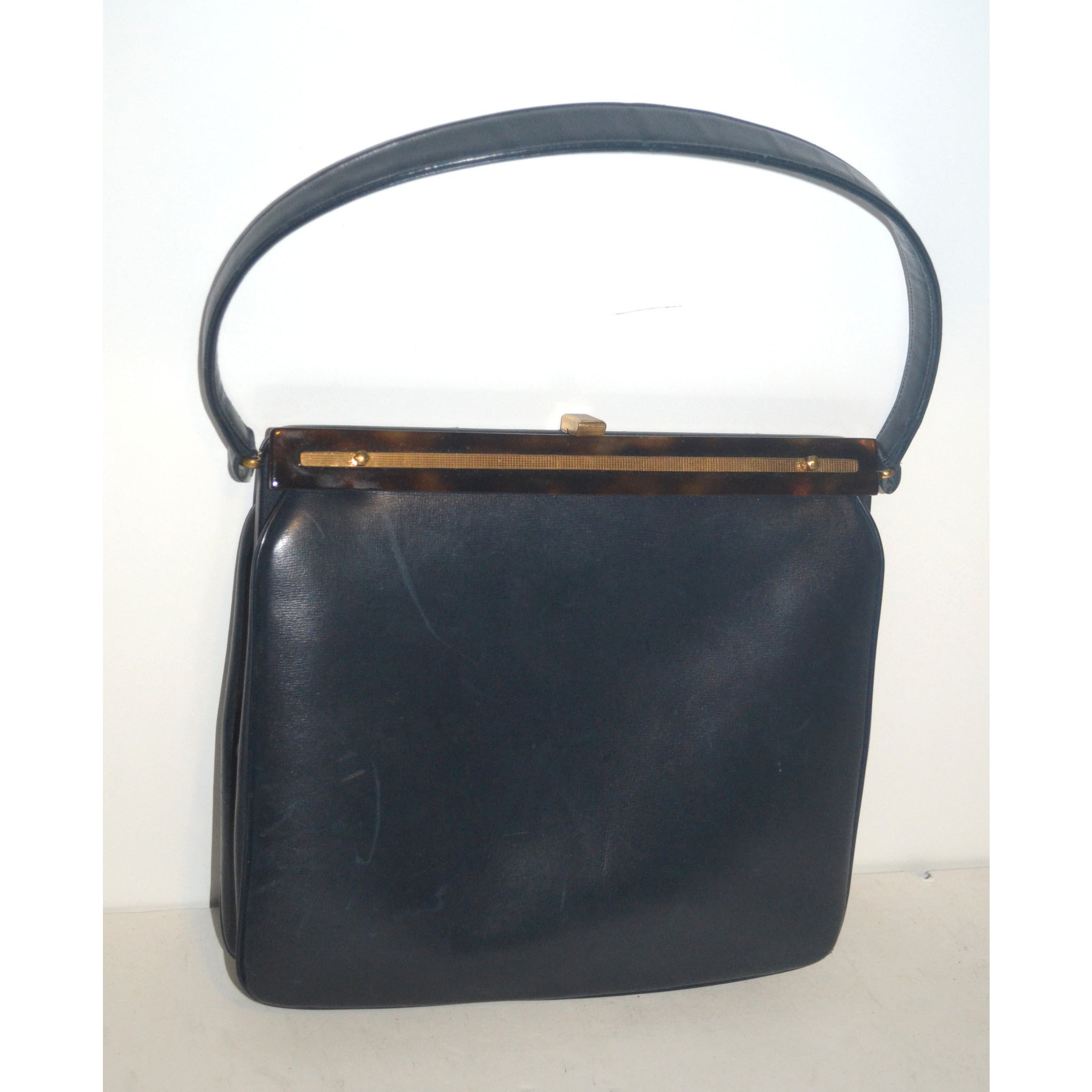 Vintage Navy Leather & Tortoise Purse By Susan Gail