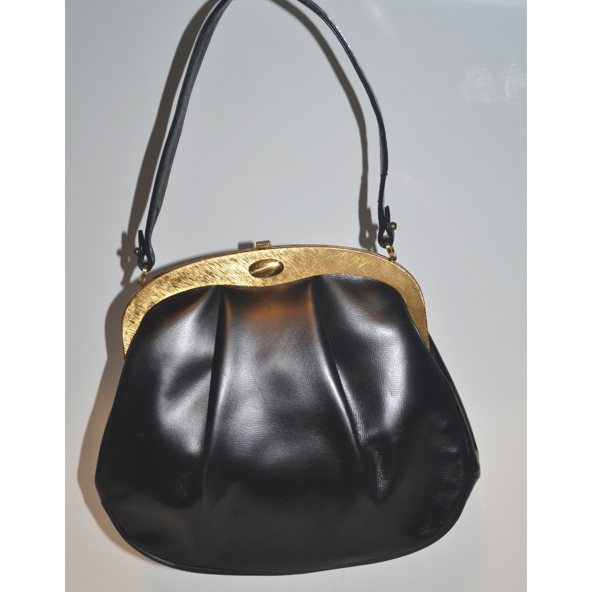 Vintage Black Leather Pleated Purse By Susan Gail