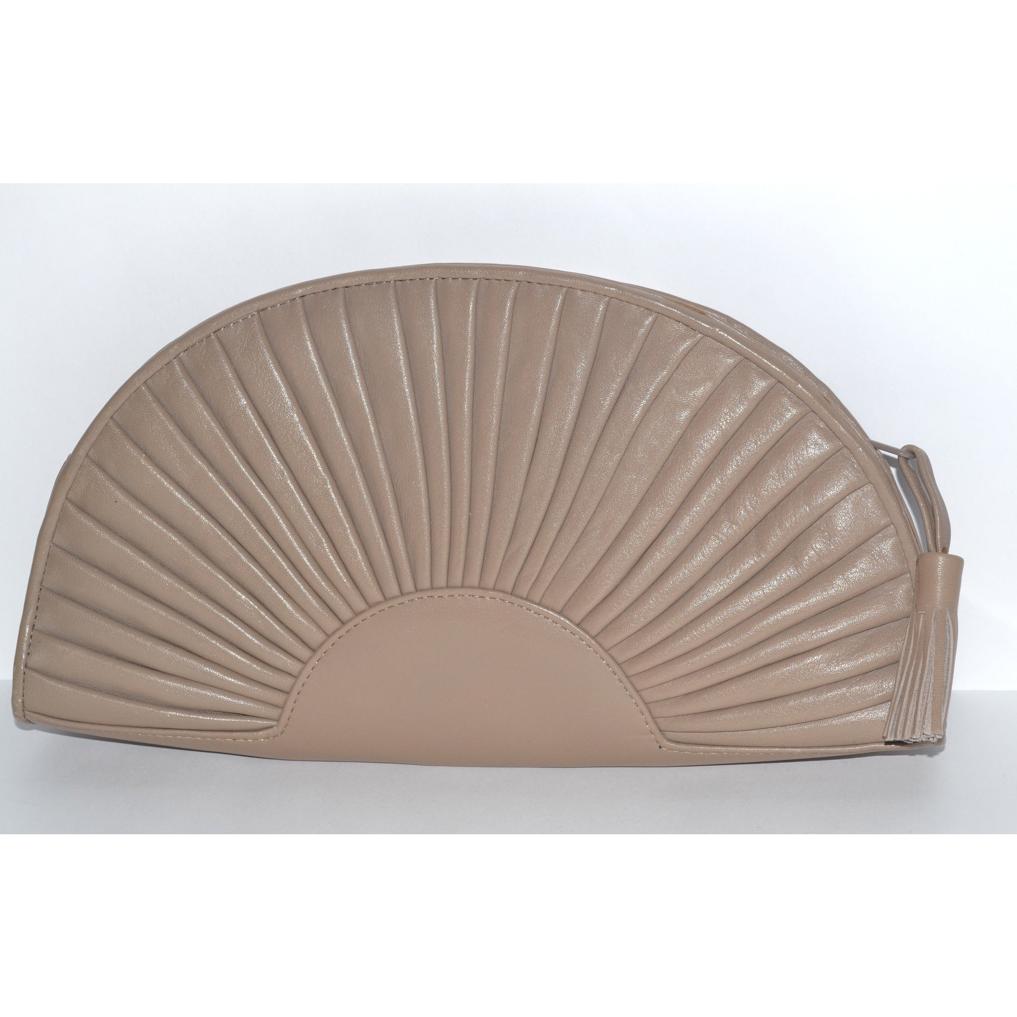 Vintage Taupe Leather Fan Purse