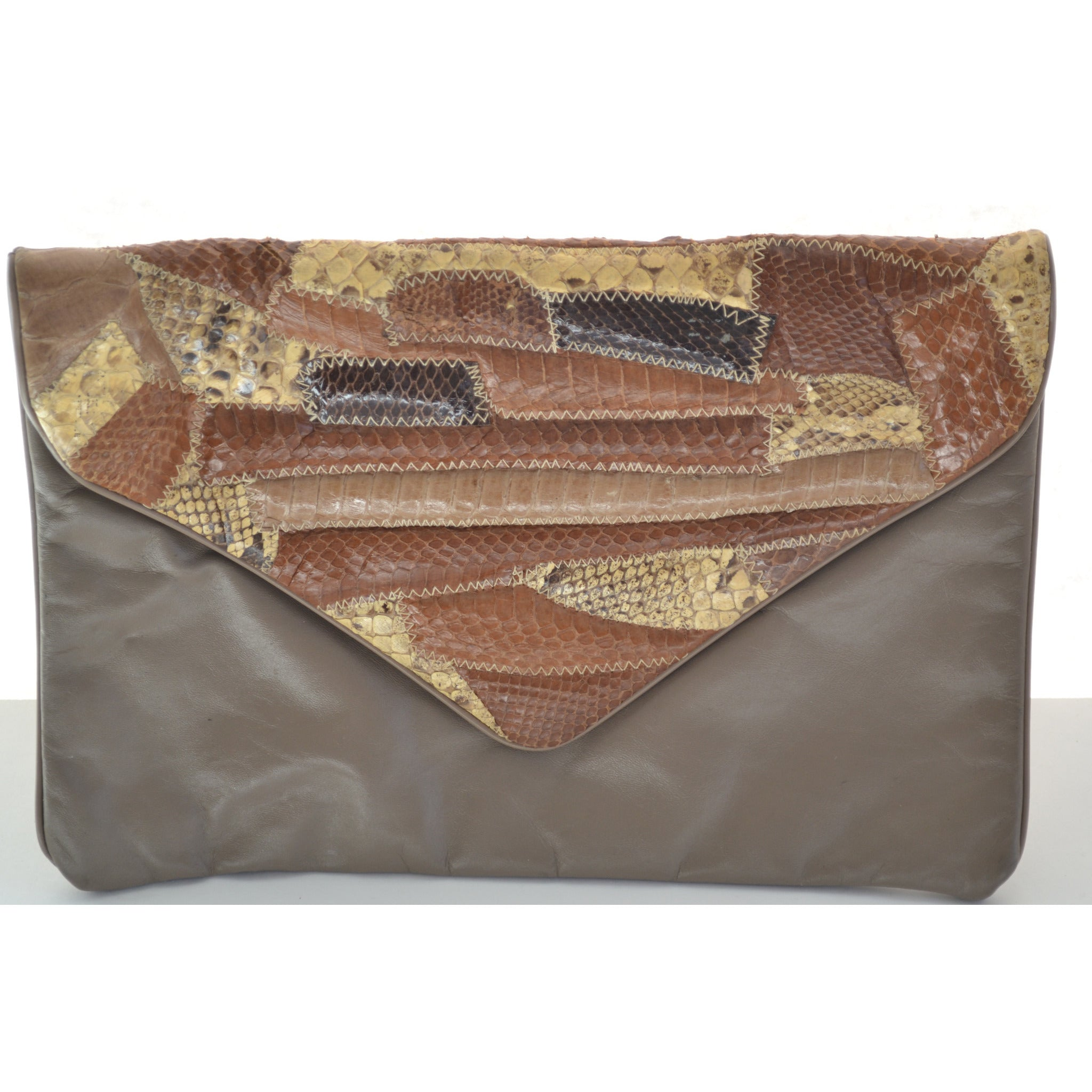 Vintage Brown Patched Reptile Leather Clutch Purse by Hala