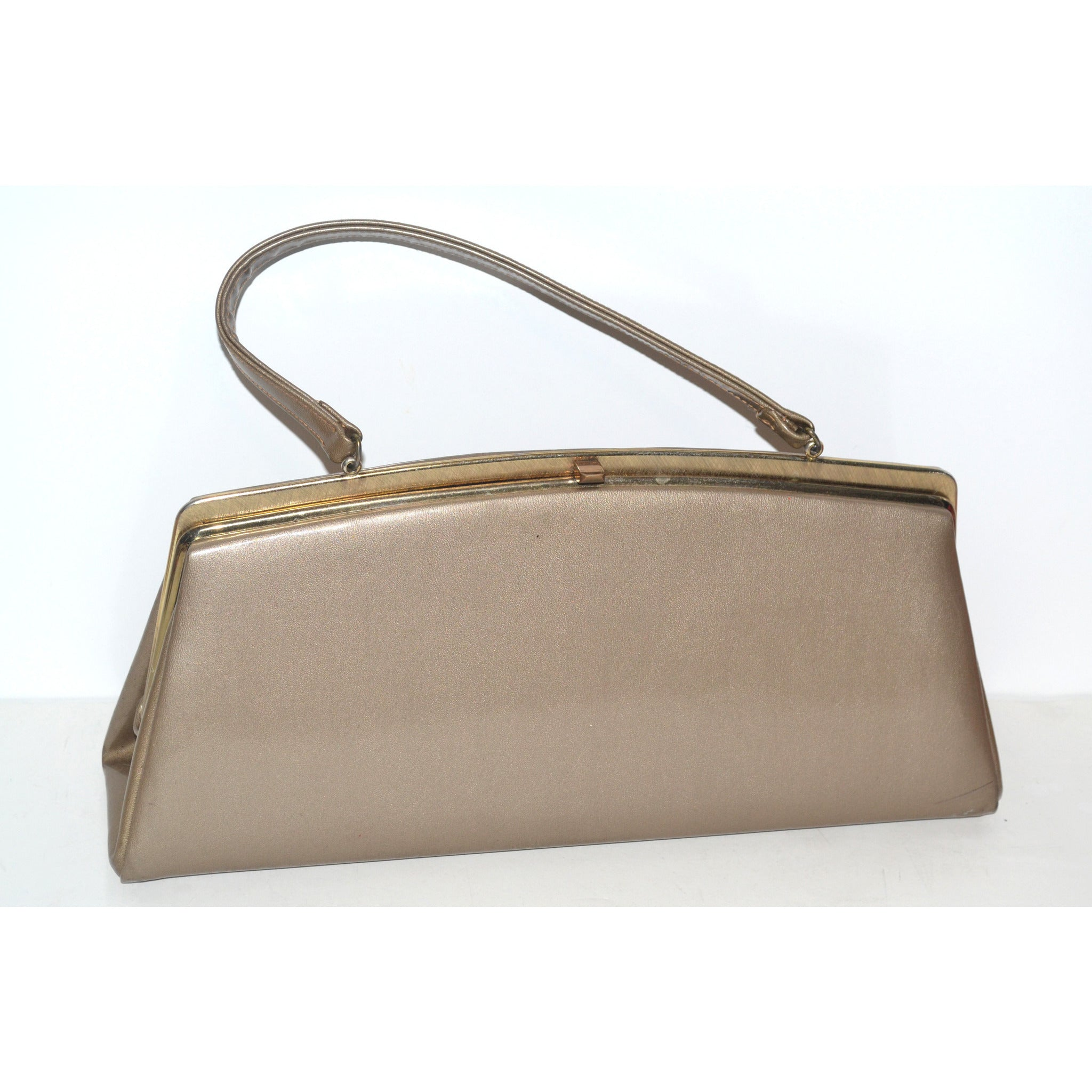 Vintage Bronze Metallic High Gloss Purse By Theodor