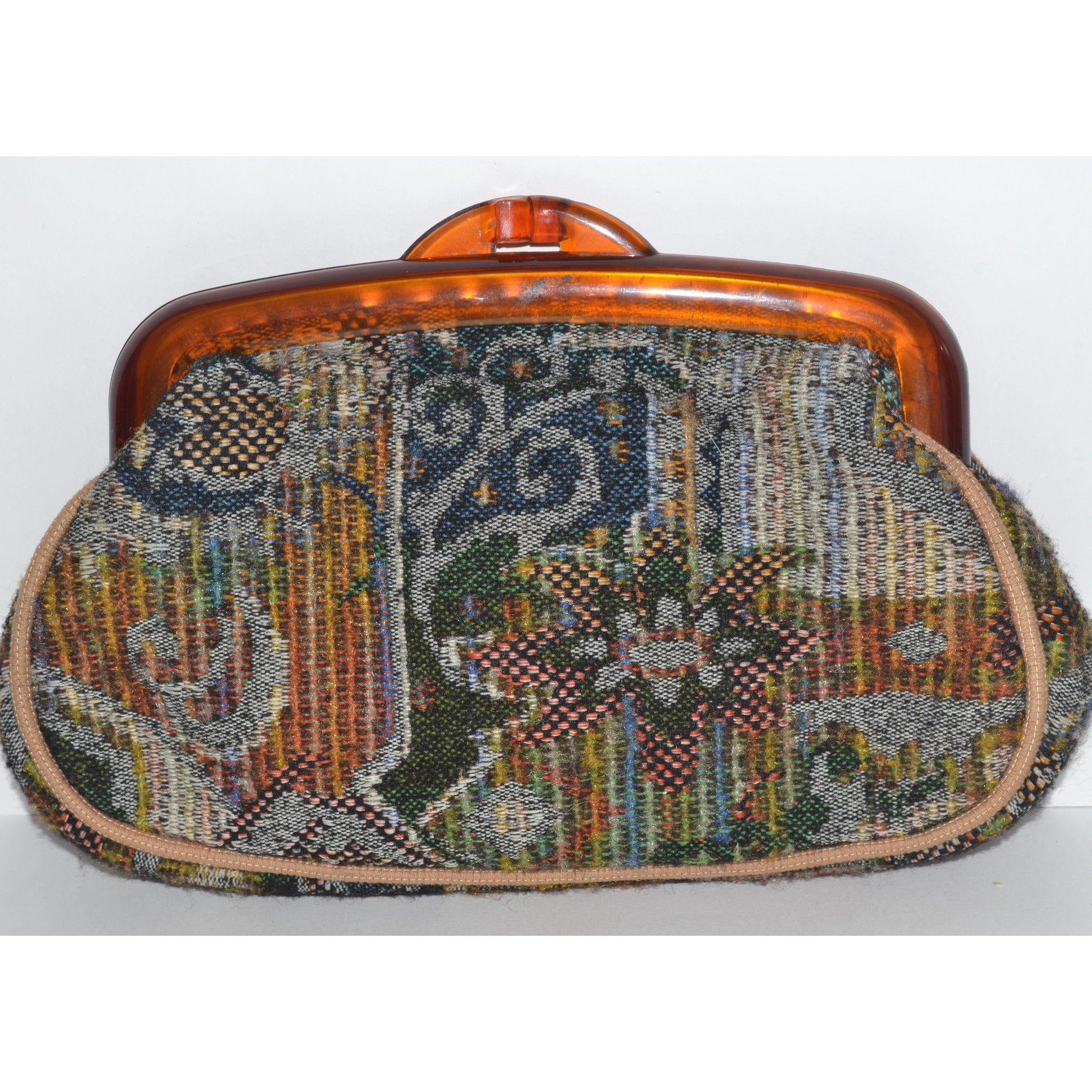 Vintage Carpetbag Plastic Framed Clutch Purse By Tibor