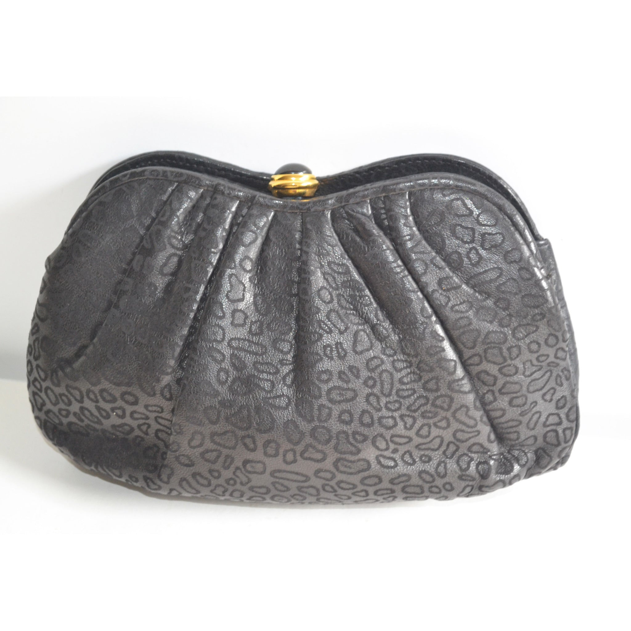 Vintage Embossed Black Leather Clutch Purse By Tiras