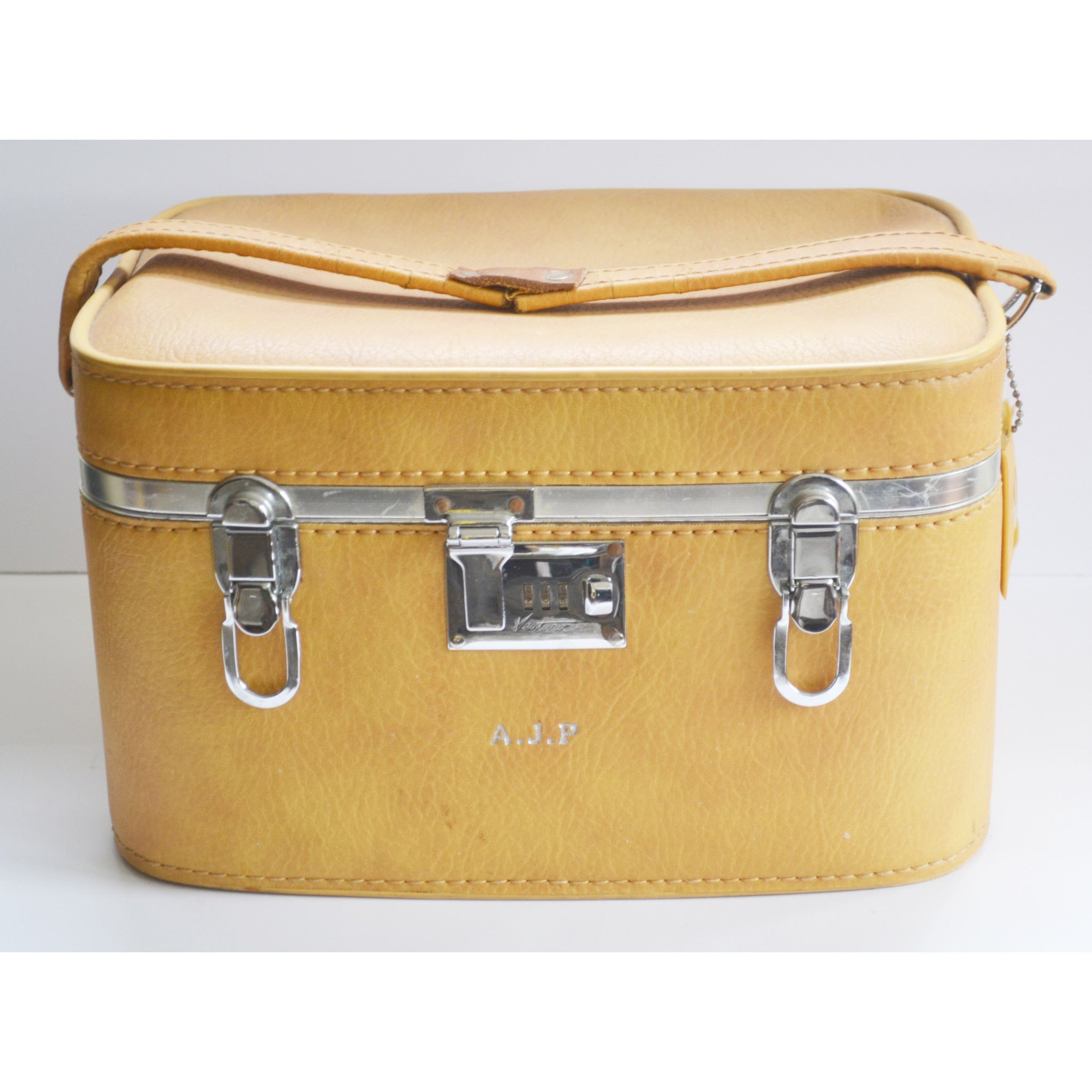 Vintage Yellow Combination Lock Train Case By Ventura
