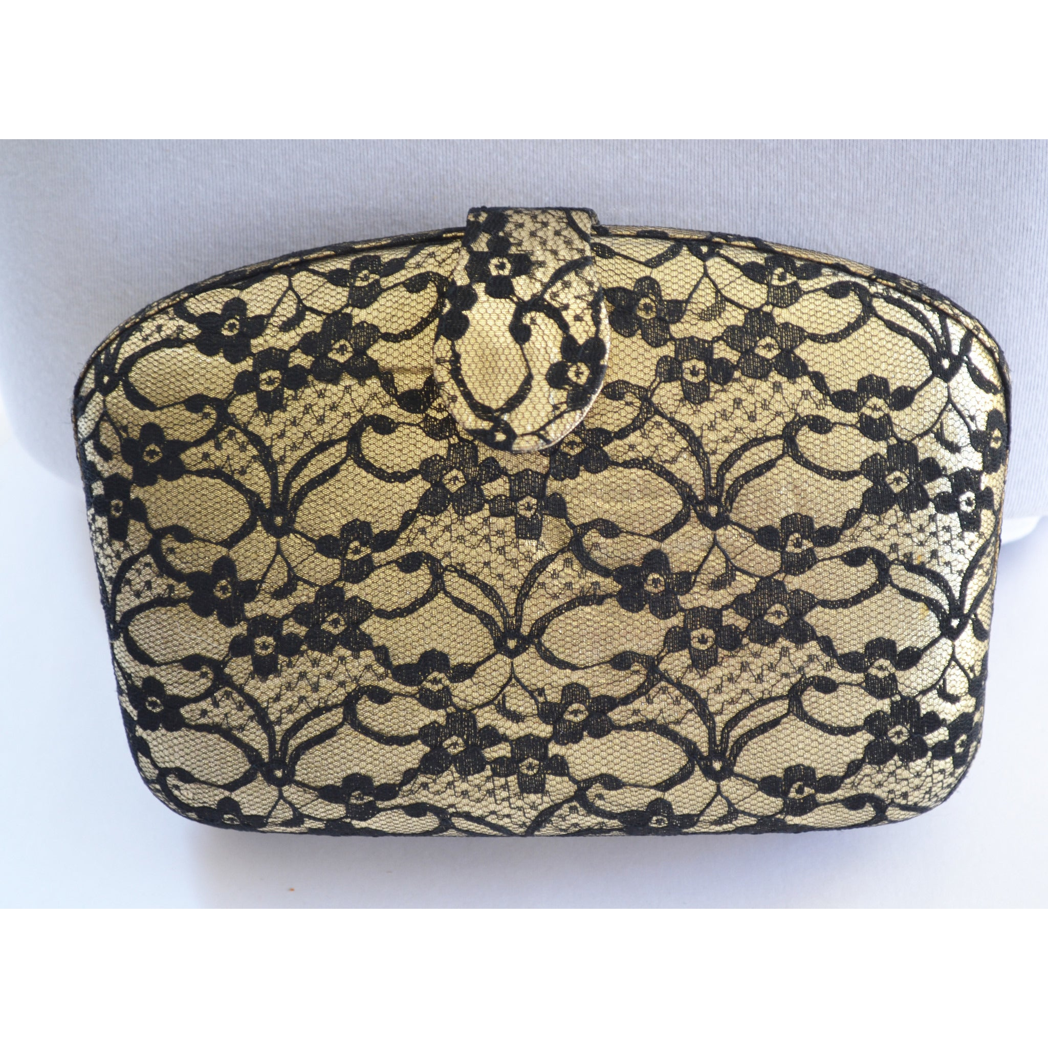 Vintage Gold & Lace Clutch Purse By Whiting & Davis