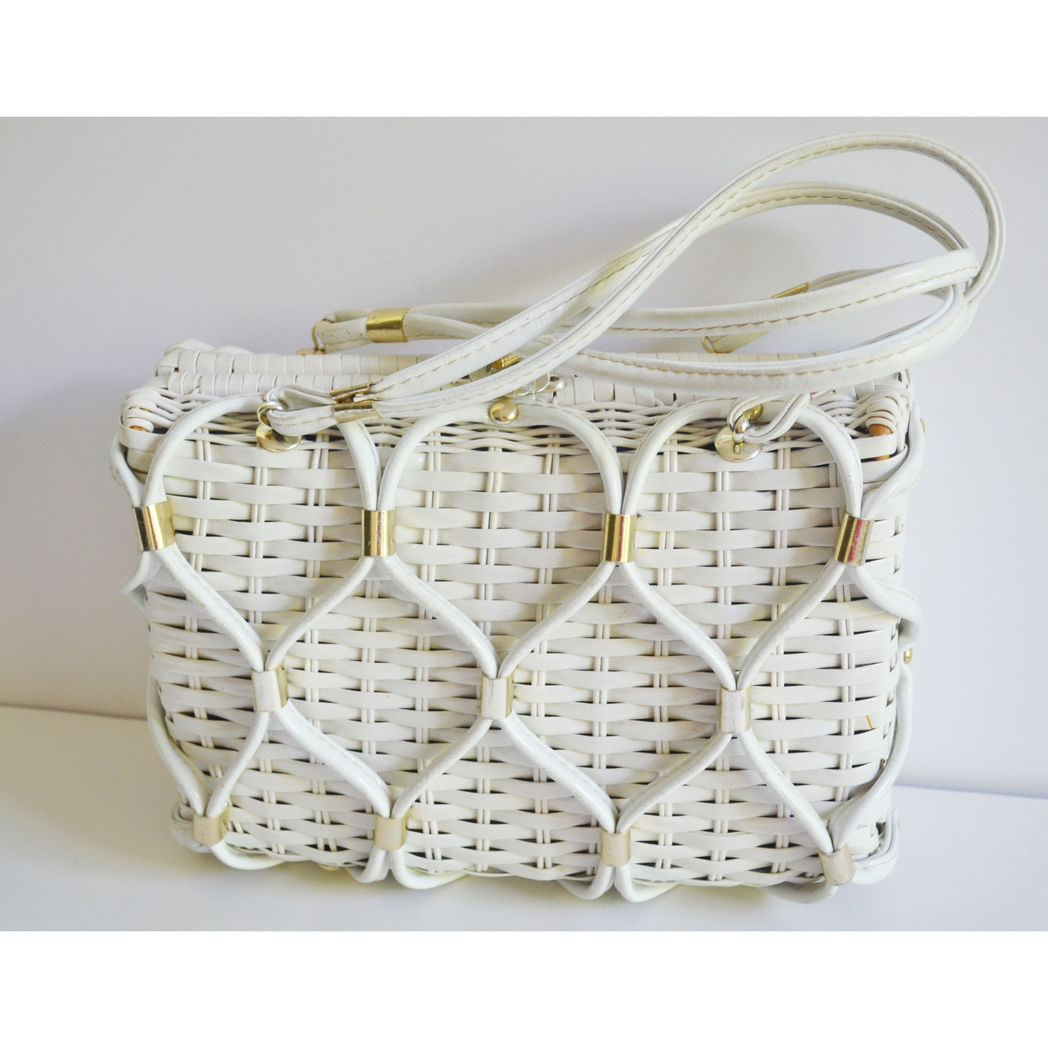 Vintage White Looped Wicker Purse By W.T. Grant