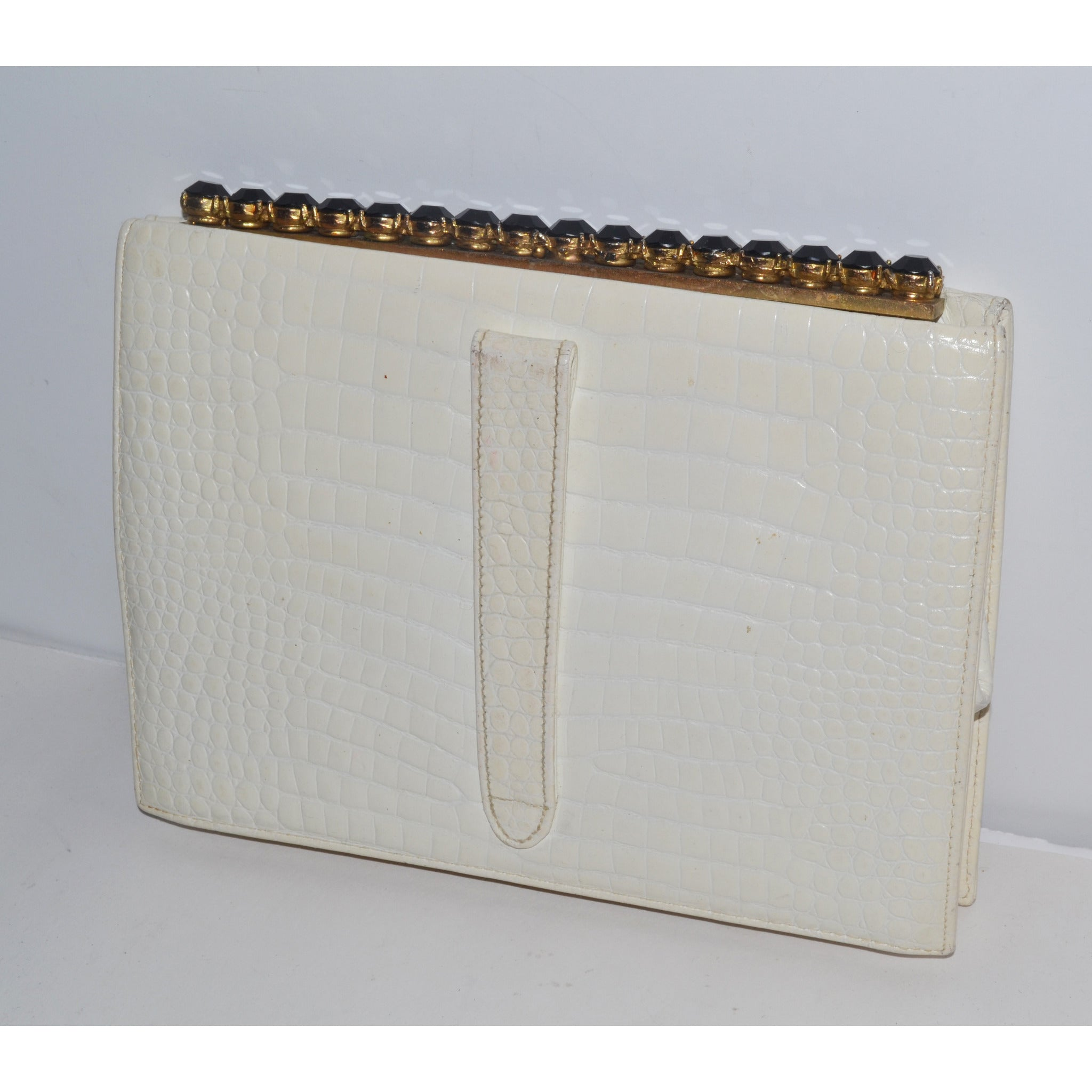 Vintage White Embossed Leather Jeweled Clutch