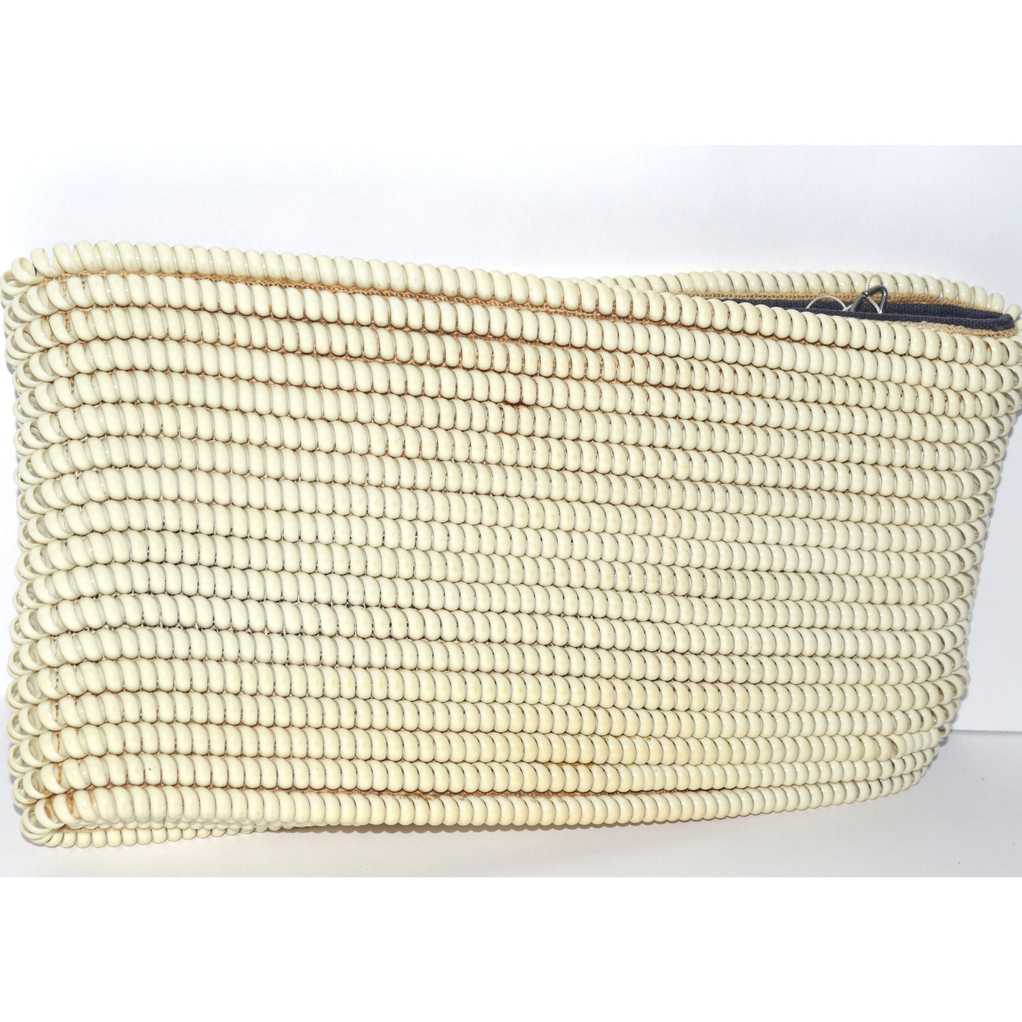 Vintage Ivory Telephone Cord Clutch Purse