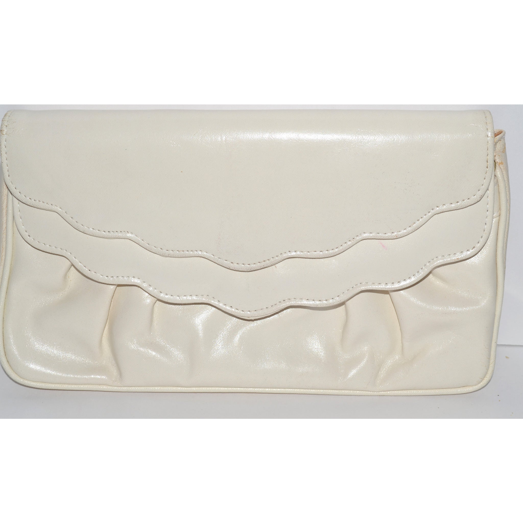 Vintage Off White Leather Clutch Purse