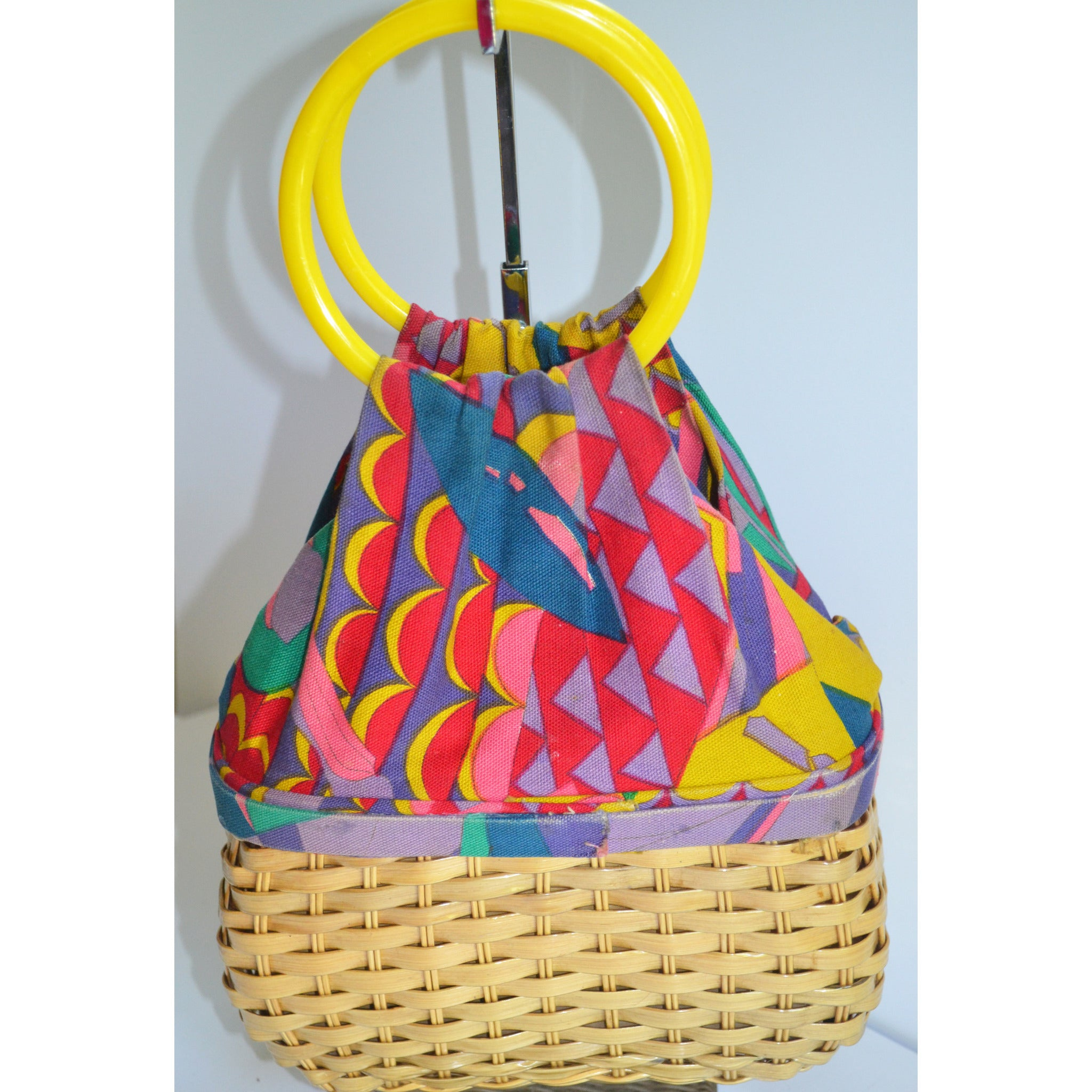 Vintage Psychedelic Woven Basket Purse