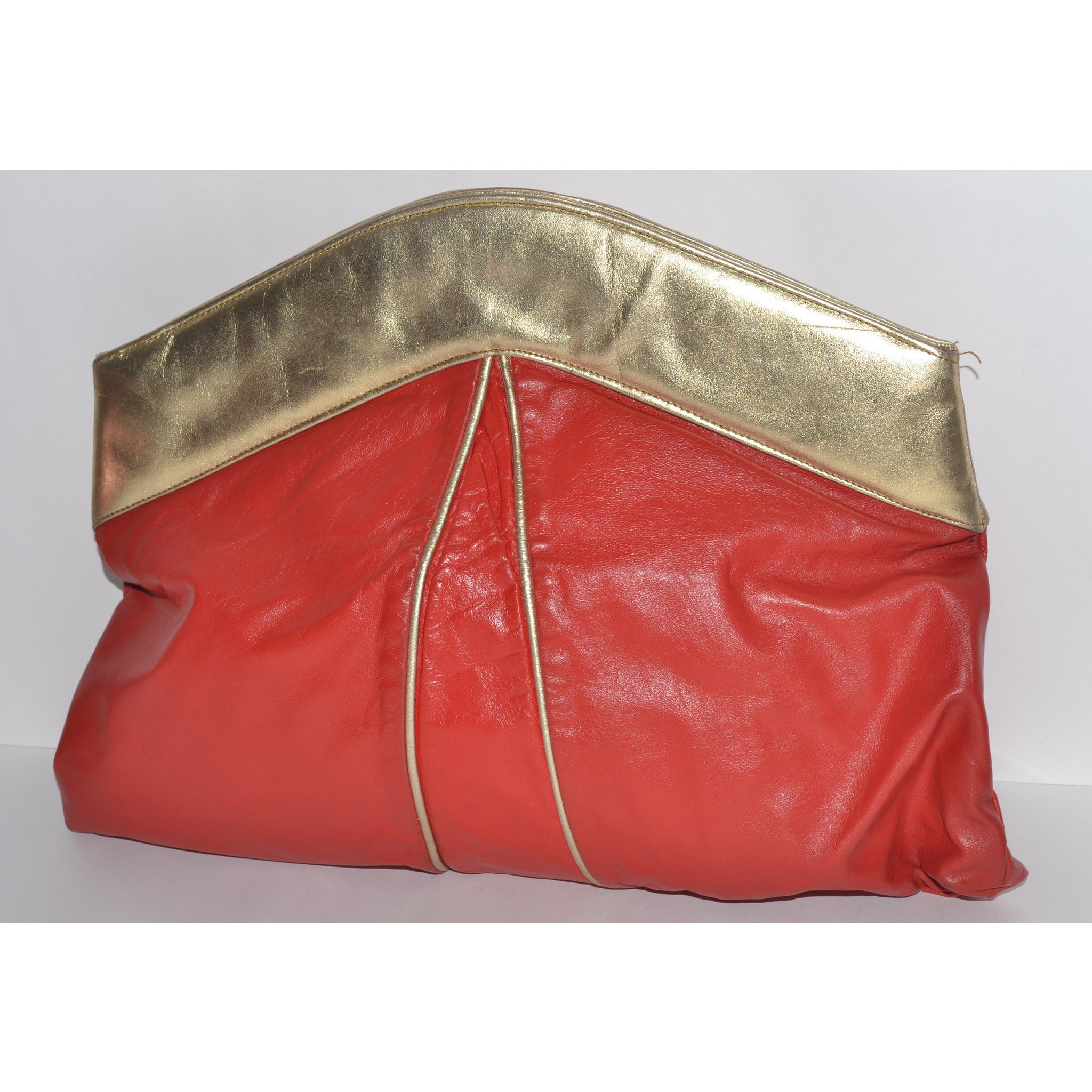 Vintage Oversized Red & Gold Clutch Purse