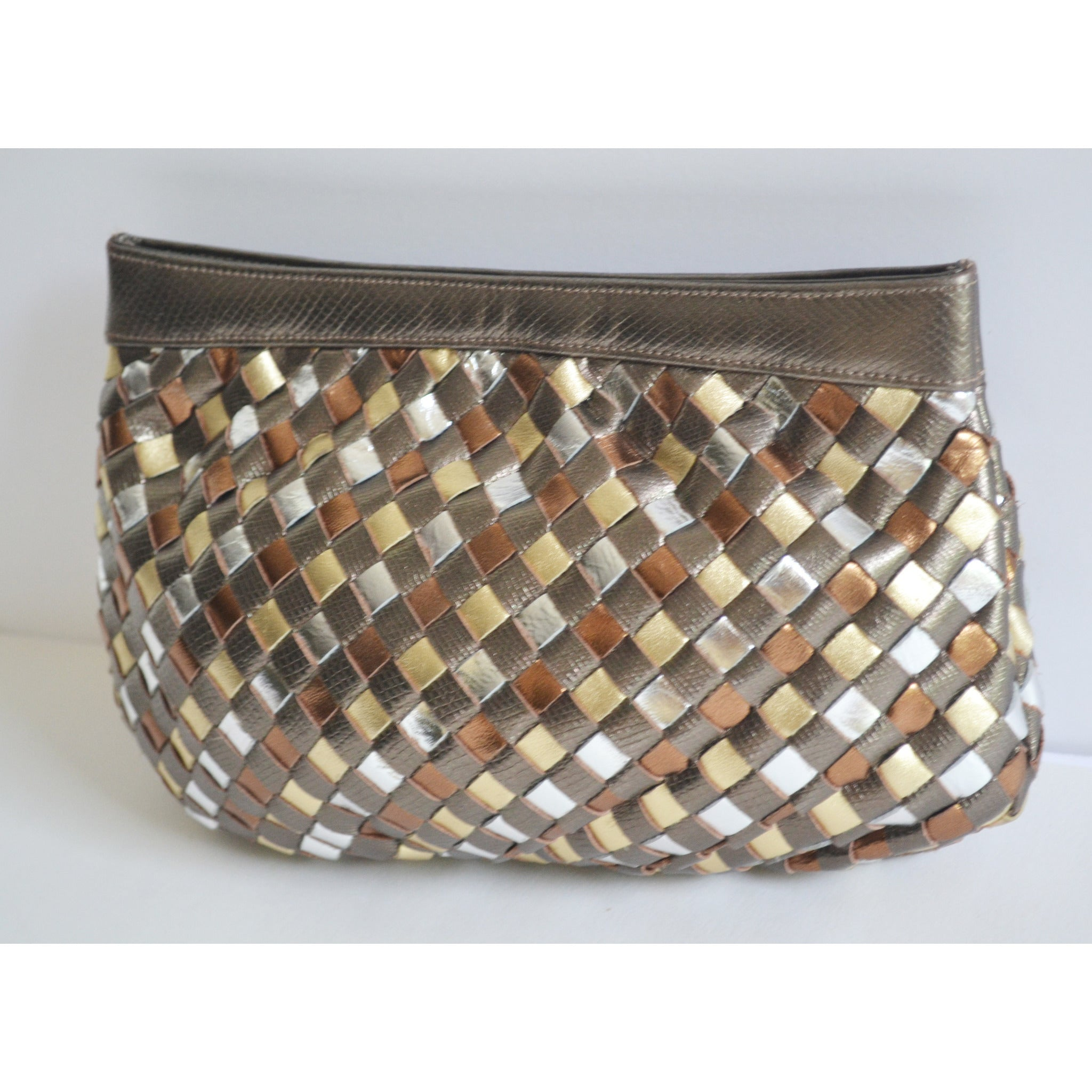 Vintage Metallic Woven Leather Clutch Purse By Sharif