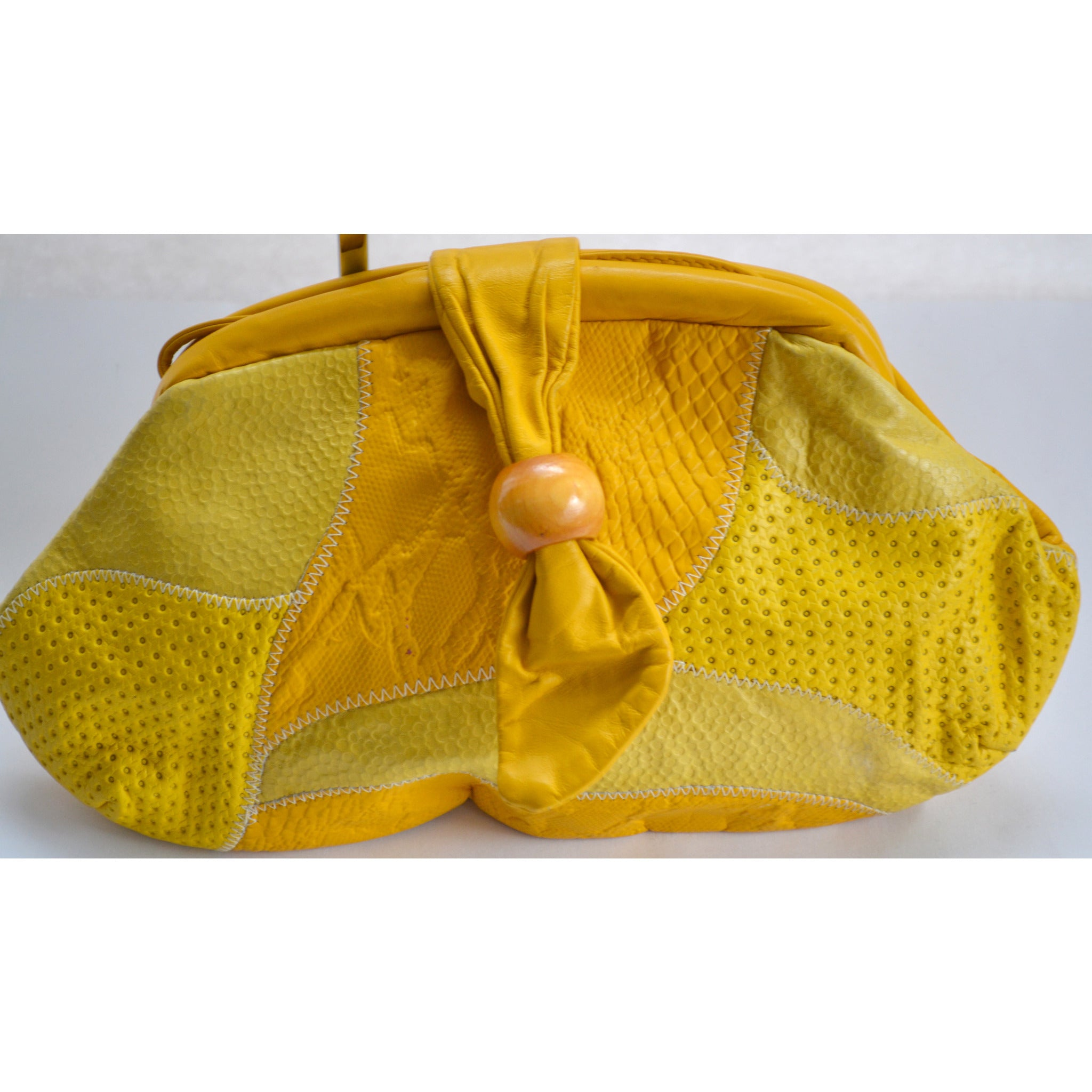 Vintage Yellow Leather Embossed Purse