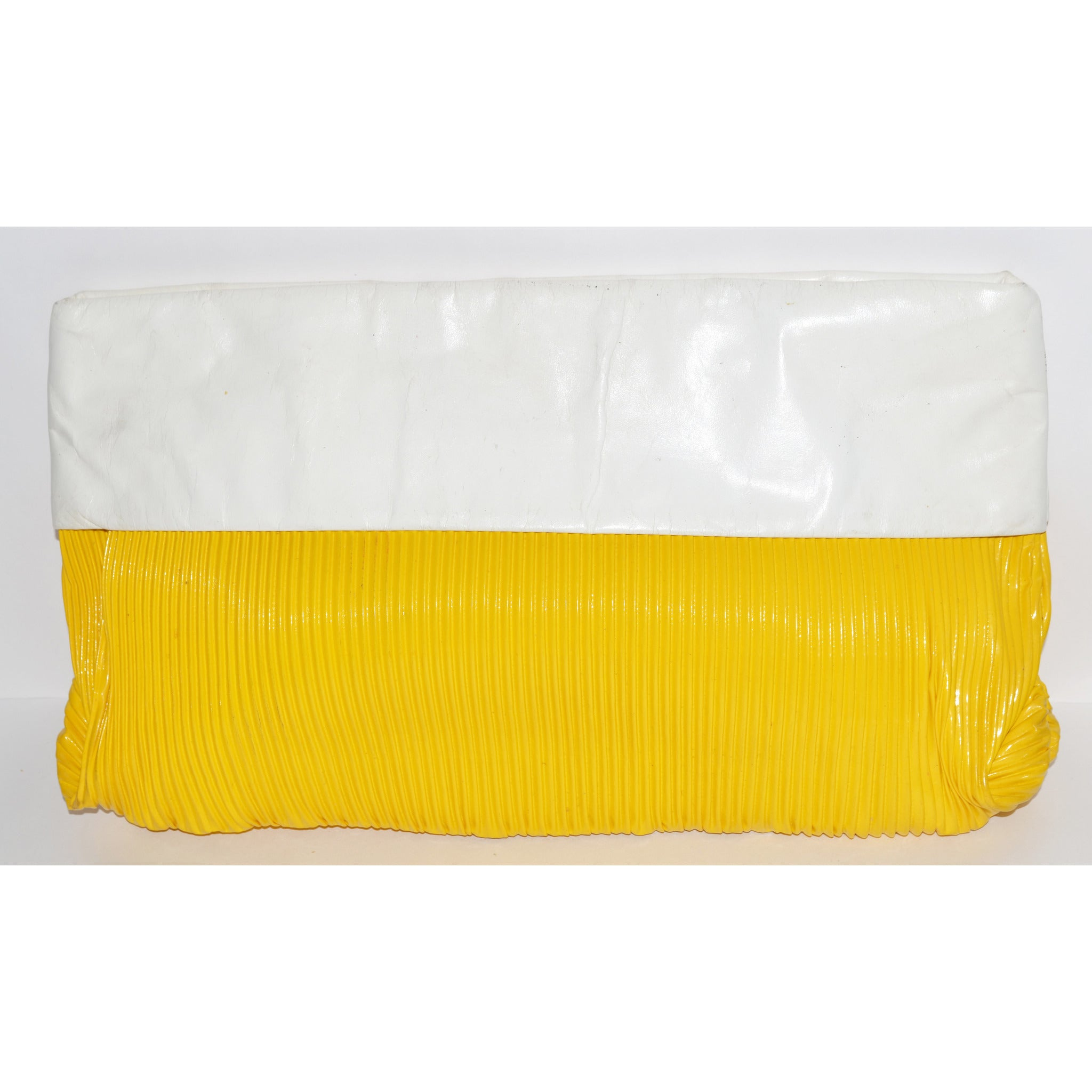 Vintage Yellow & White Ribbed Clutch Purse