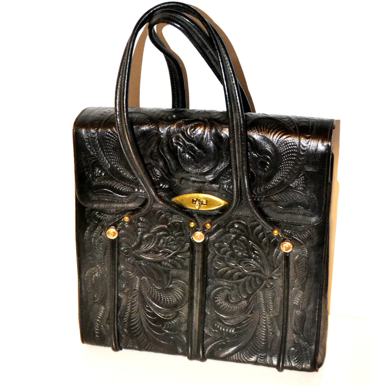 Vintage Black Aztela Tooled Leather Travel Bag