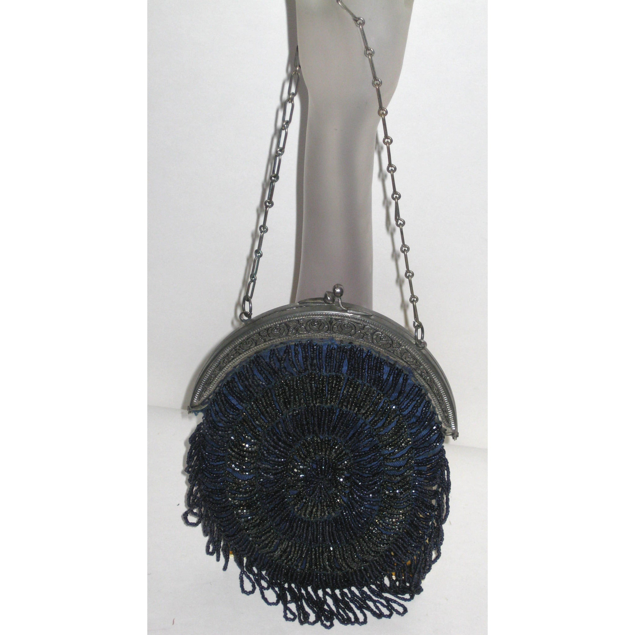 Vintage Cobweb Swag Victorian Evening Beaded Purse
