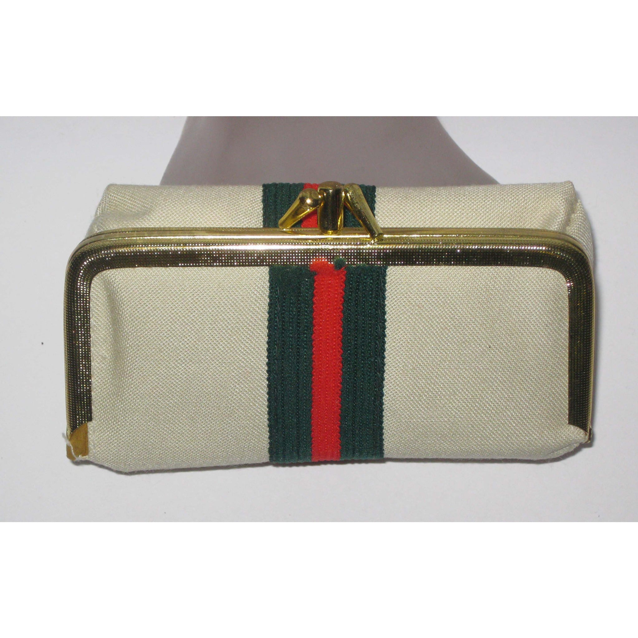 Vintage Striped Canvas All-n-One Coin Purse