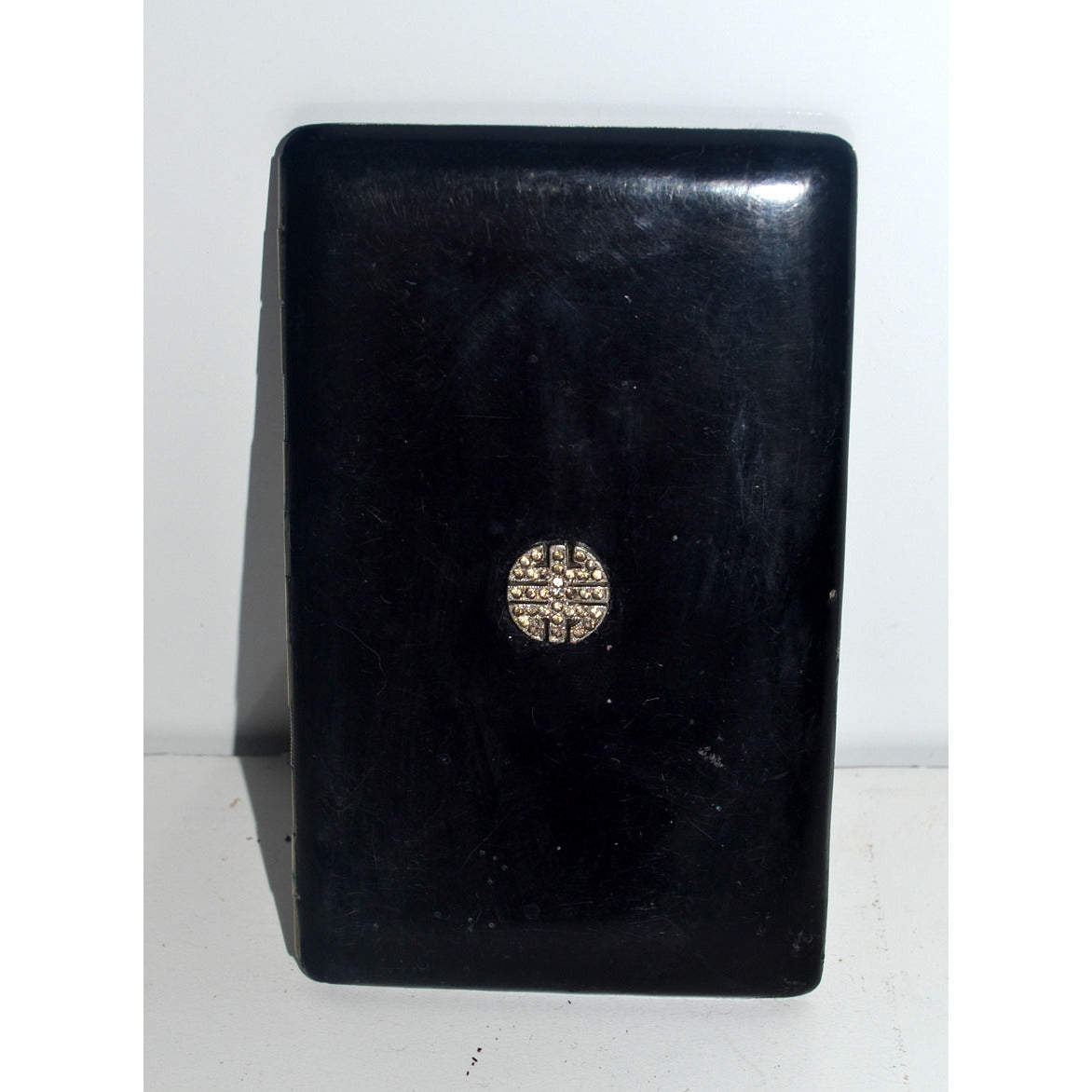 Vintage Black Enamel Rhinestone Cigarette Case By Filwilk