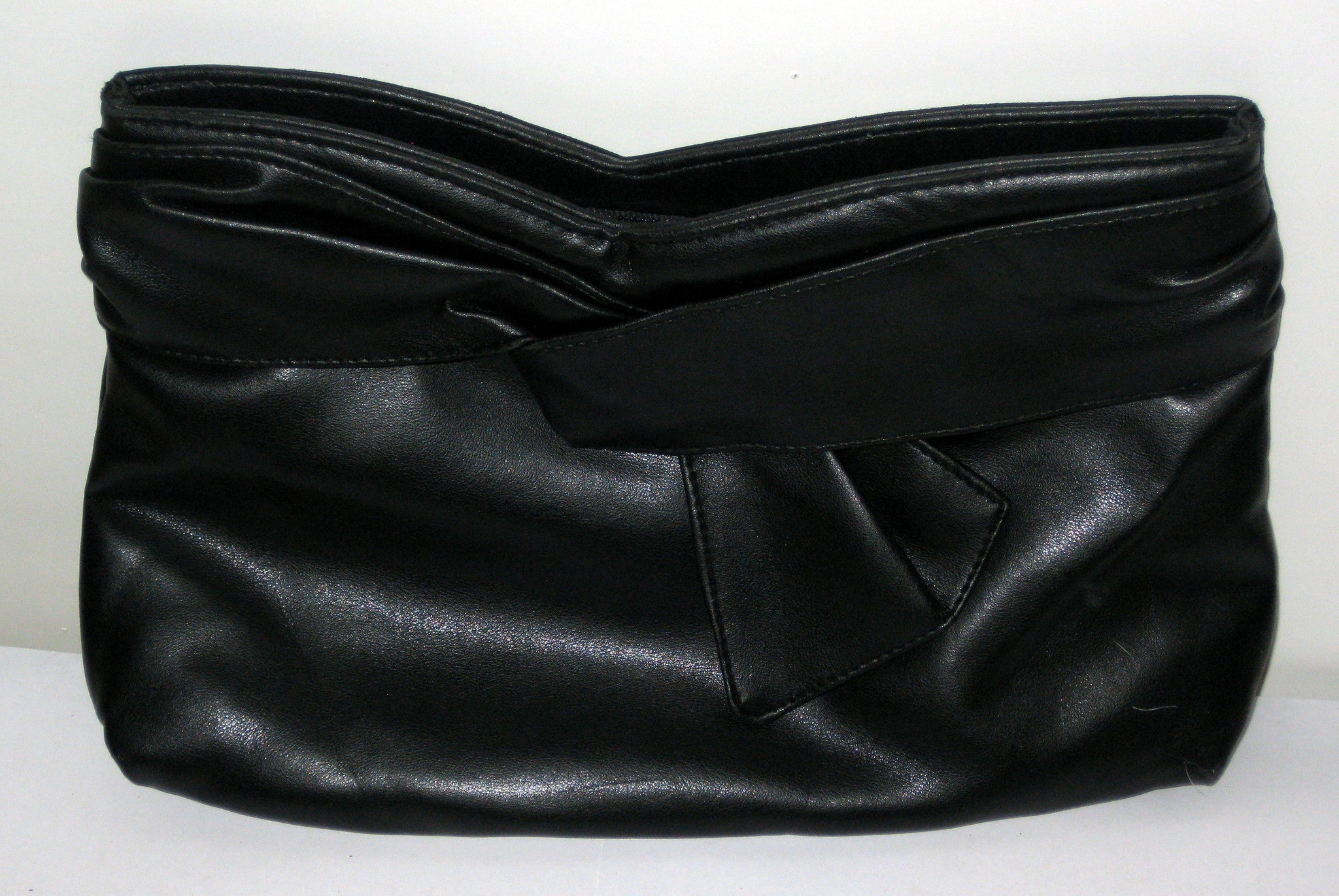Vintage Black Sash Leather Clutch Purse
