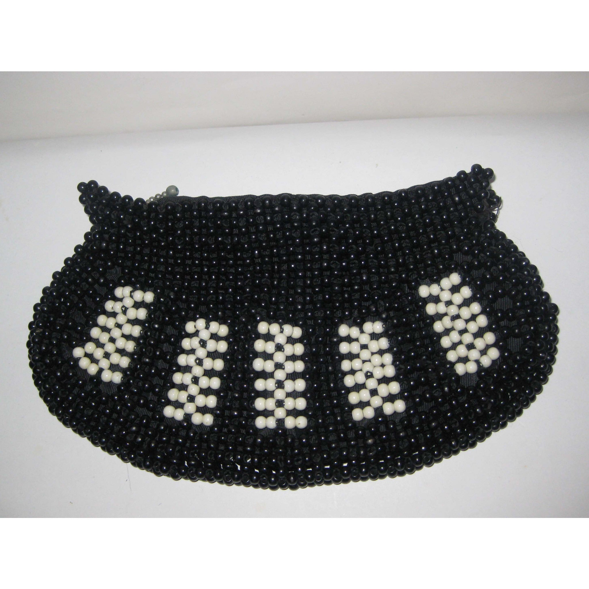 Vintage Black & White Beaded Purse