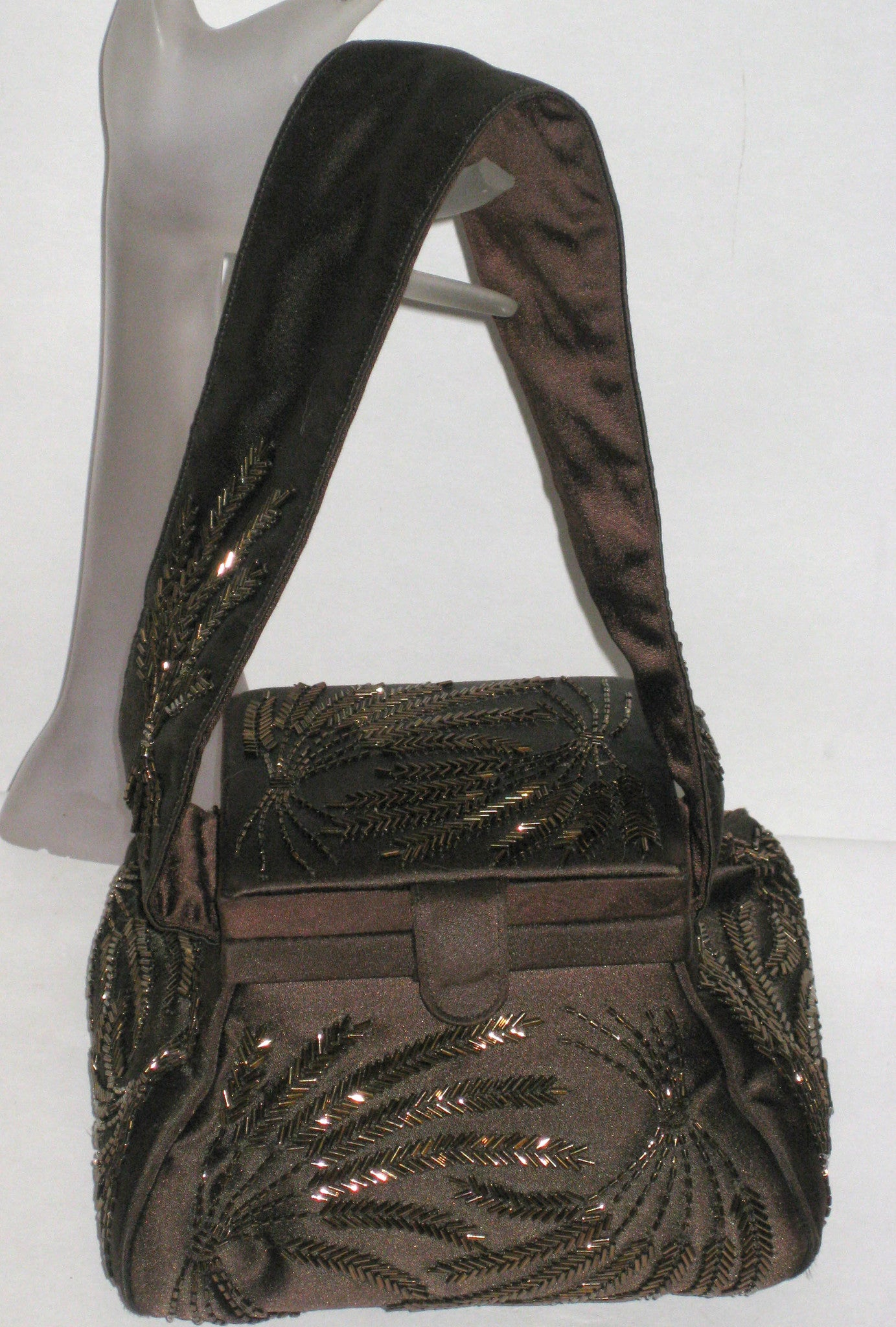 Vintage Josef Beaded Chocolate Brown Beaded Evening Pouch Purse