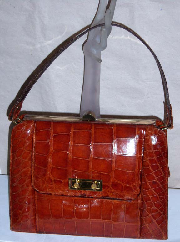 Vintage Large Sweet Brown Alligator Purse
