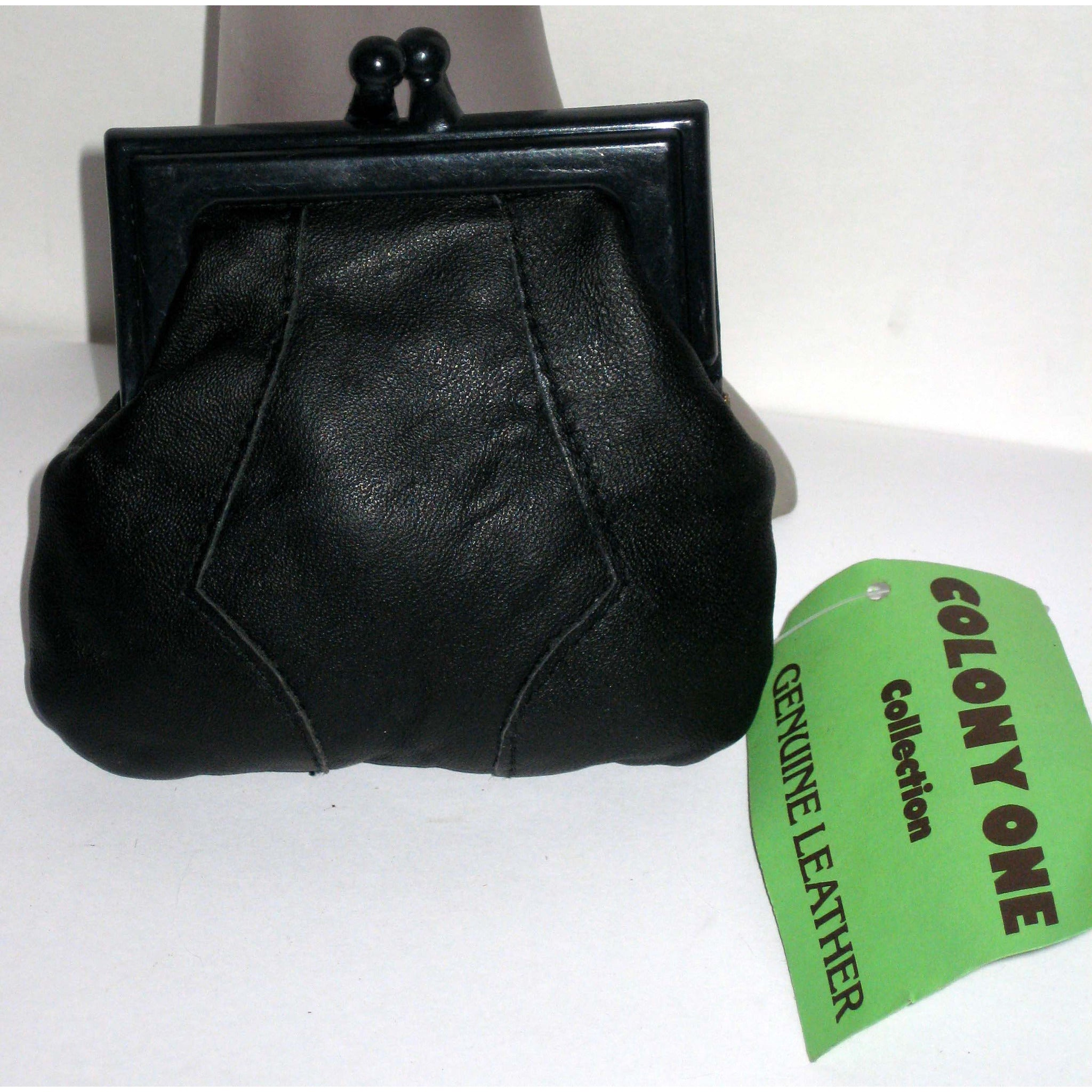 Vintage Black Leather Coin Purse By Colony One