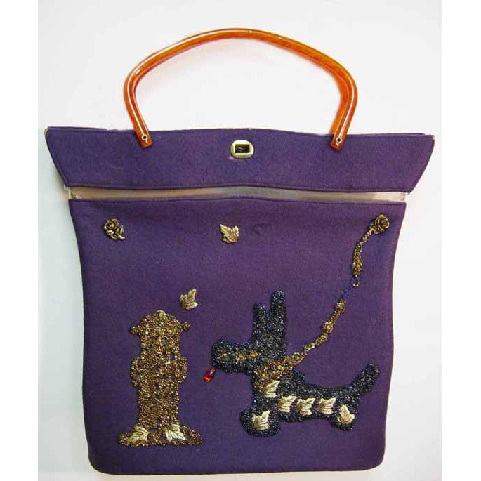 Vintage Bakelite Handle Scottie Dog Embellished Tote Purse