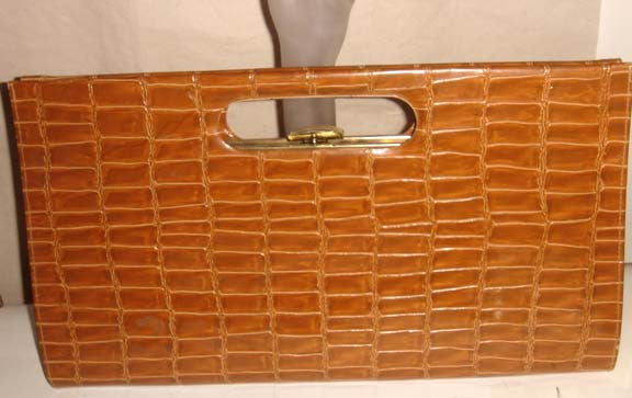 Vintage Brown Sassy Embossed Alligator Clutch Purse