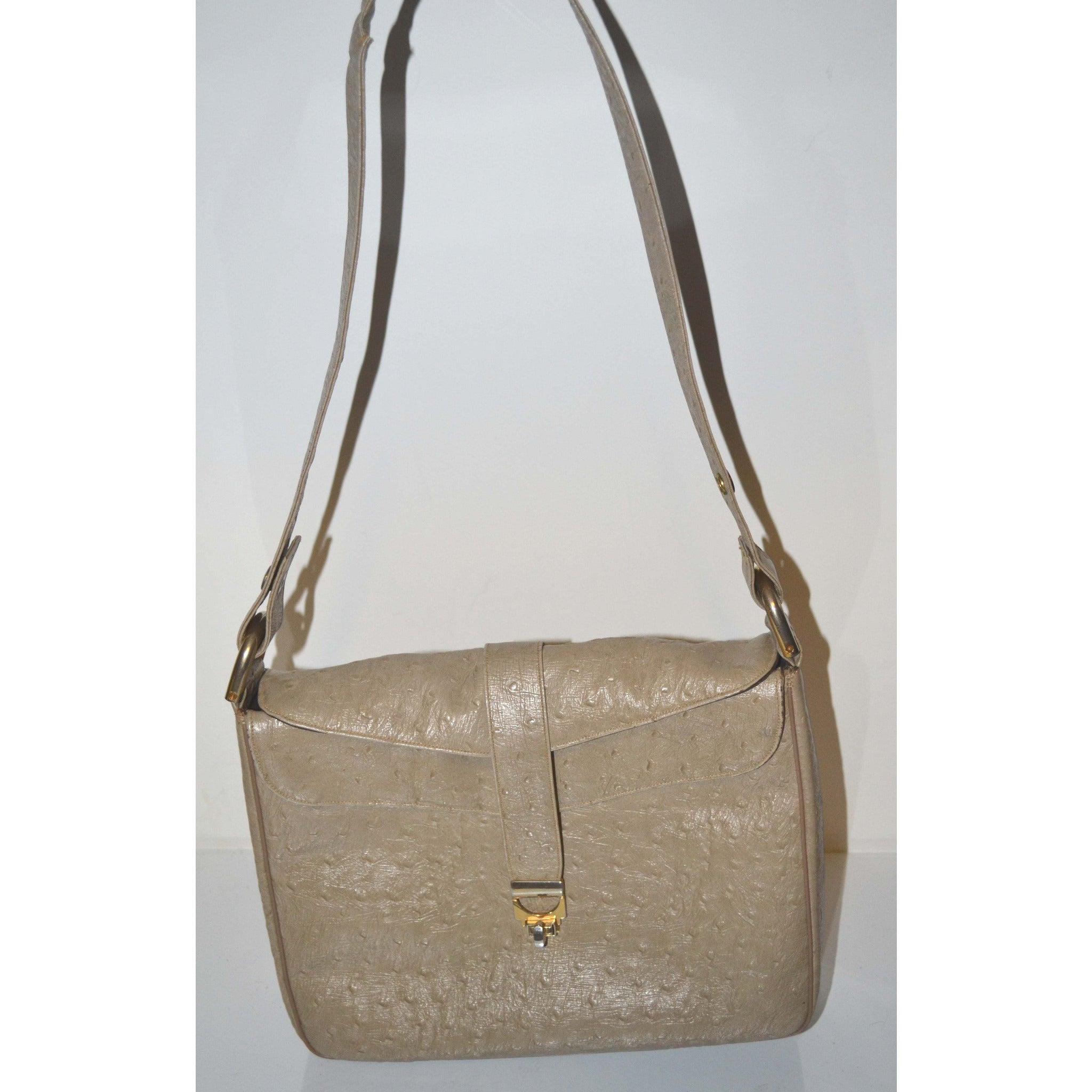 Embossed Leather Taupe Purse