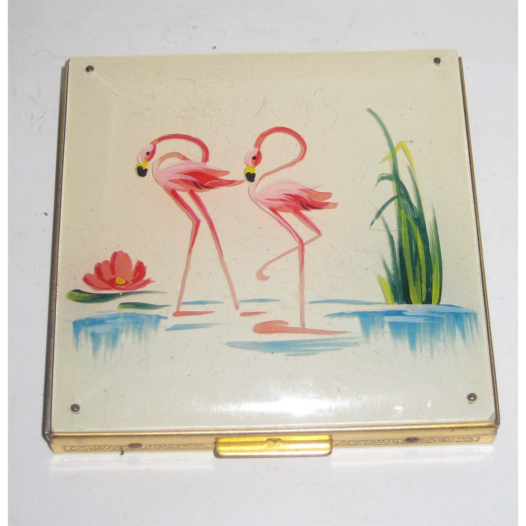 Vintage Pink Flamingos Compact By Rex