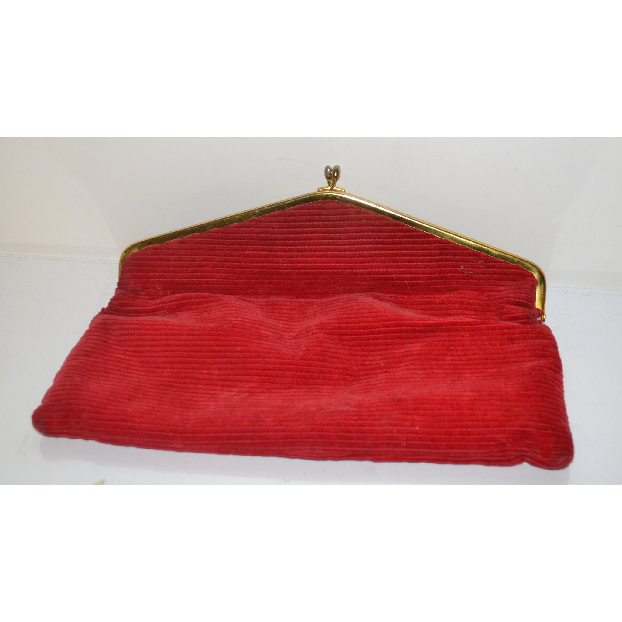 Vintage Red Fold Over Corduroy Clutch Purse