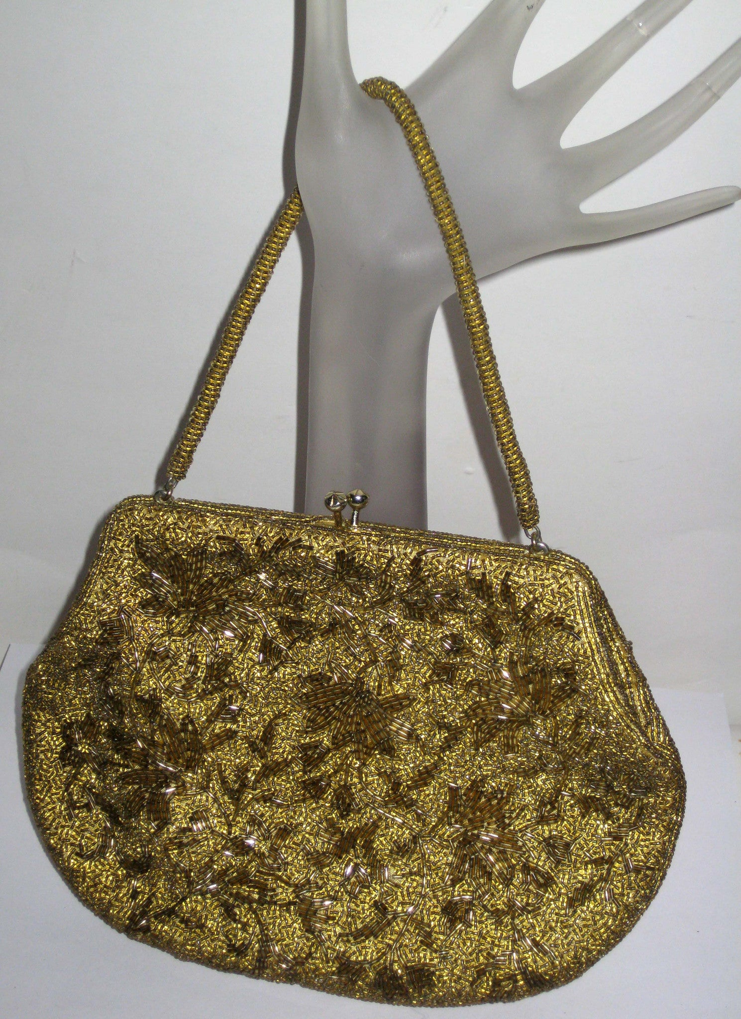 Vintage Gold Glass Beaded Evening Purse