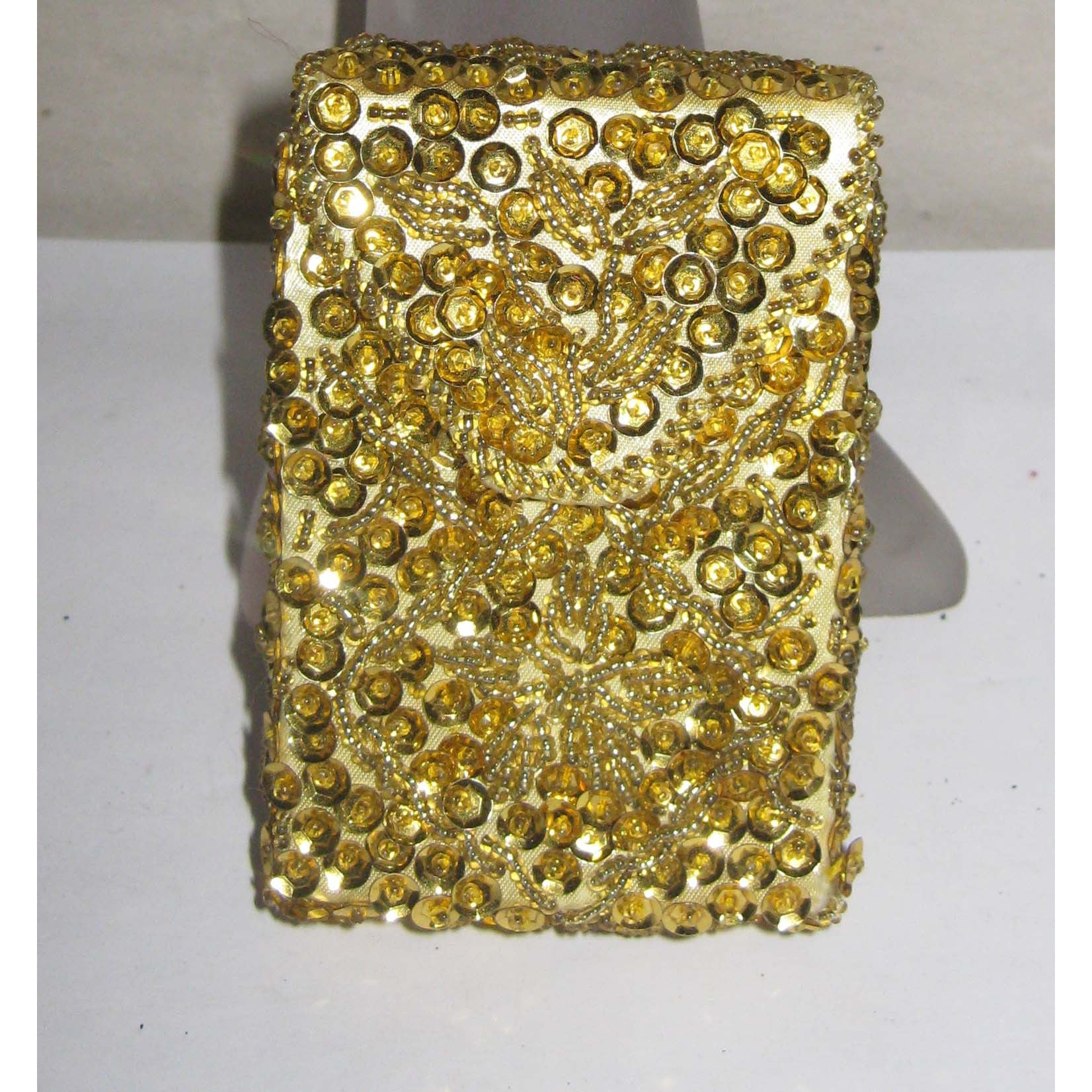Vintage Gold Sequined & Beaded Cigarette Purse