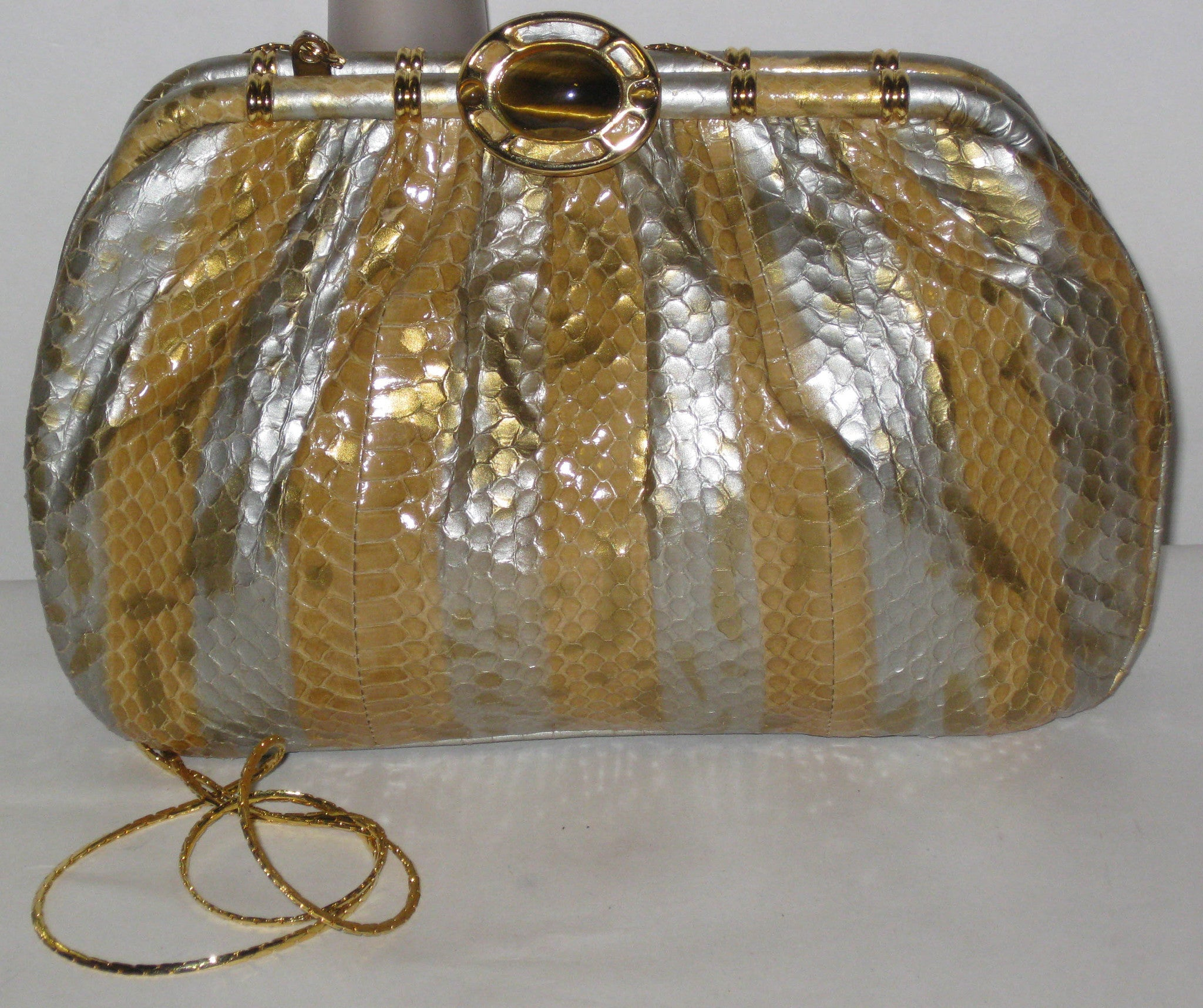 Vintage Ashneil Metallic Reptile Tigereye Clutch Purse