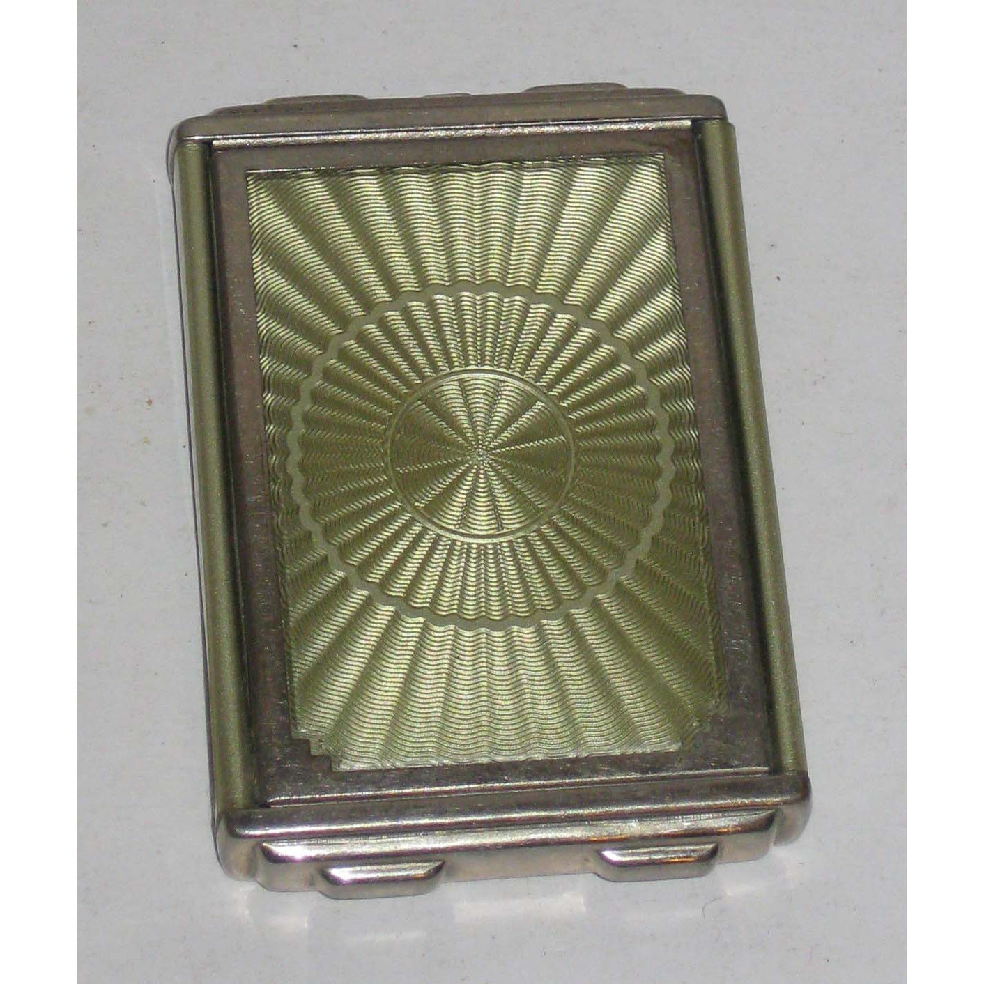 Vintage Green Enamel Guilloche Compact